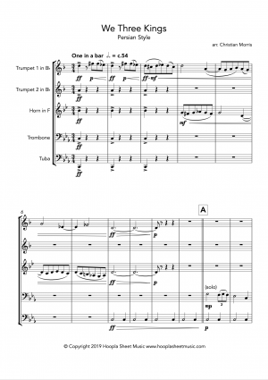 We Three Kings (Persian Style) for Brass Quintet (2tp, hn, tb, tu)
