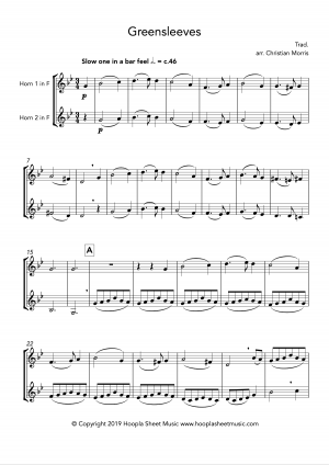 Greensleeves, fantasy for French horn duet