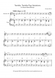 Twinkle, Twinkle Pop Variations (Twinkle, Twinkle Little Star) for Clarinet