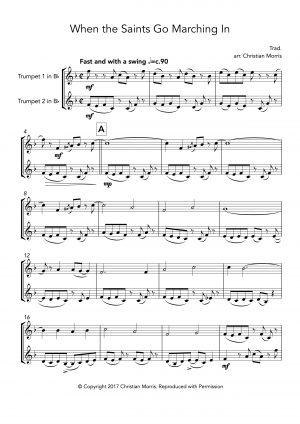 When the Saints Go Marching In (Fantasy) for Trumpet Duet