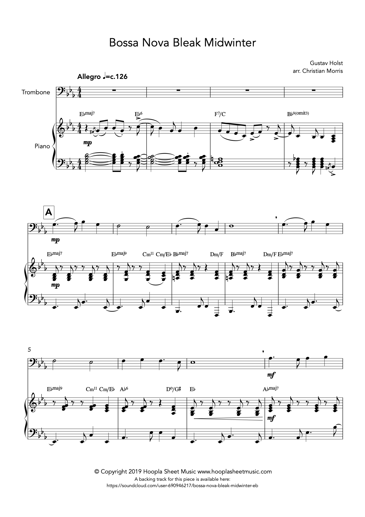 Bossa Nova Bleak Midwinter (Trombone)