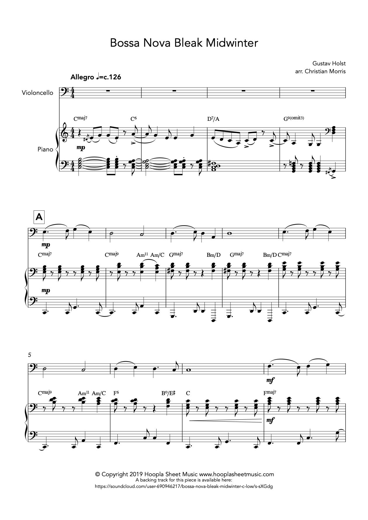 Bossa Nova Bleak Midwinter (Cello)