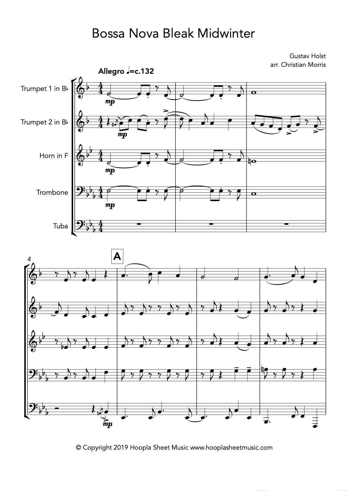 Bossa Nova Bleak Midwinter (Brass Quintet)
