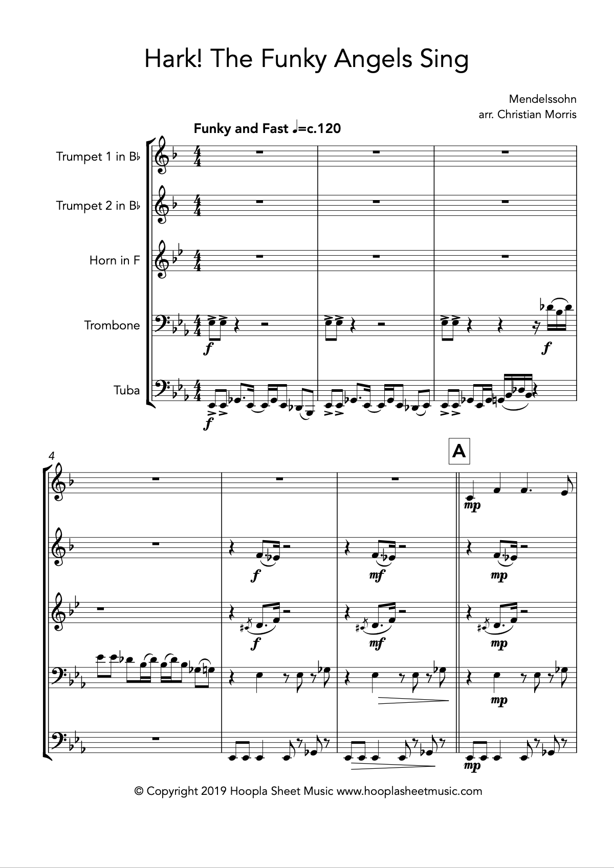 Hark the Funky Angels Sing (Brass Quintet)