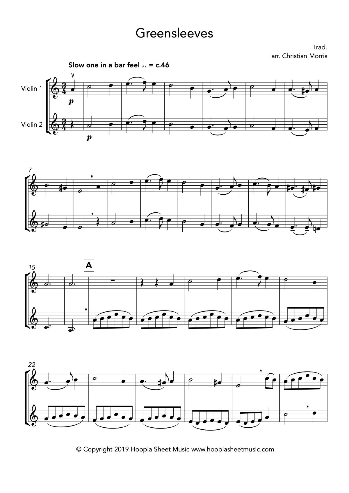 Greensleeves, fantasy for violin duet