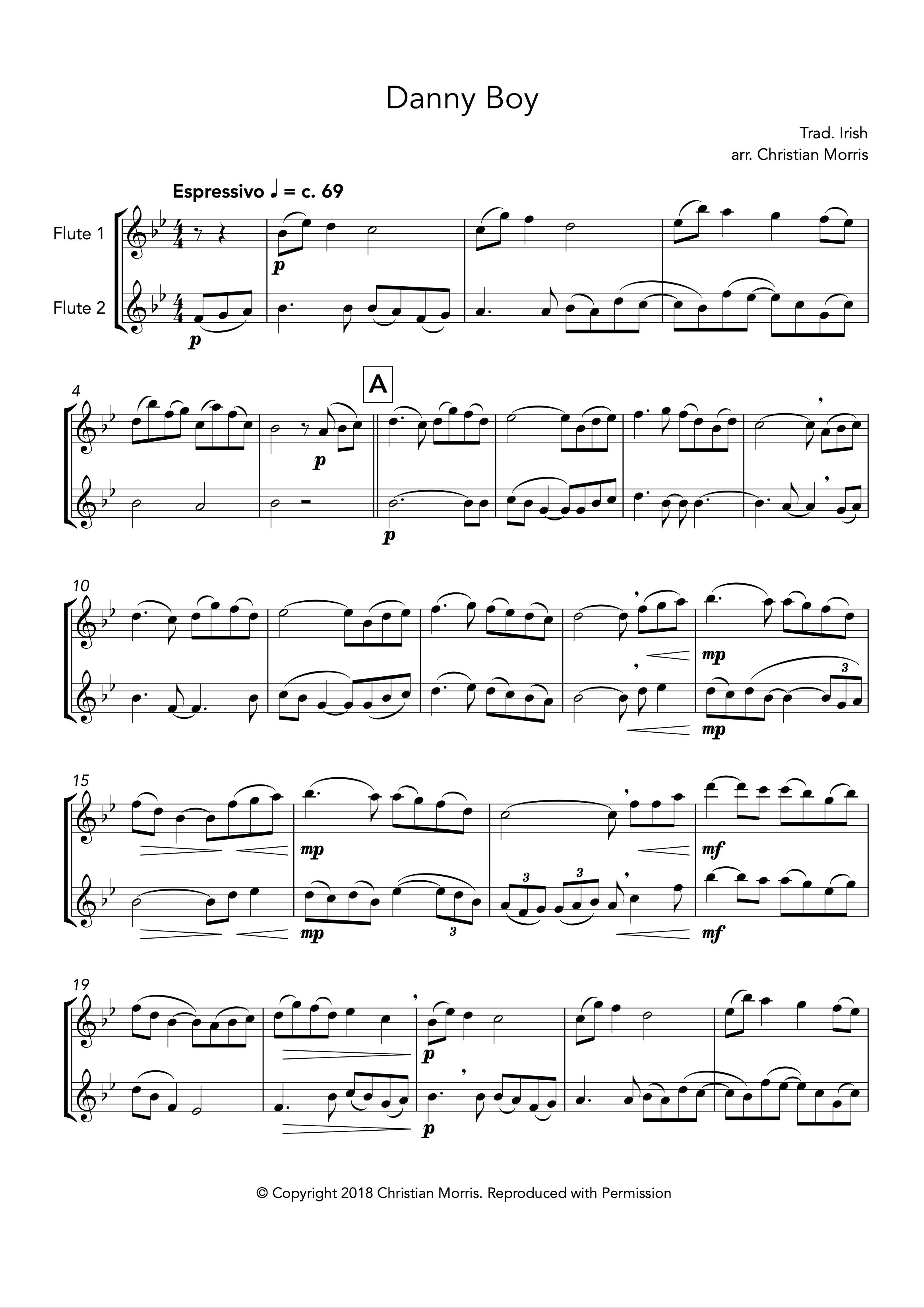 Danny Boy, fantasy for flute duet