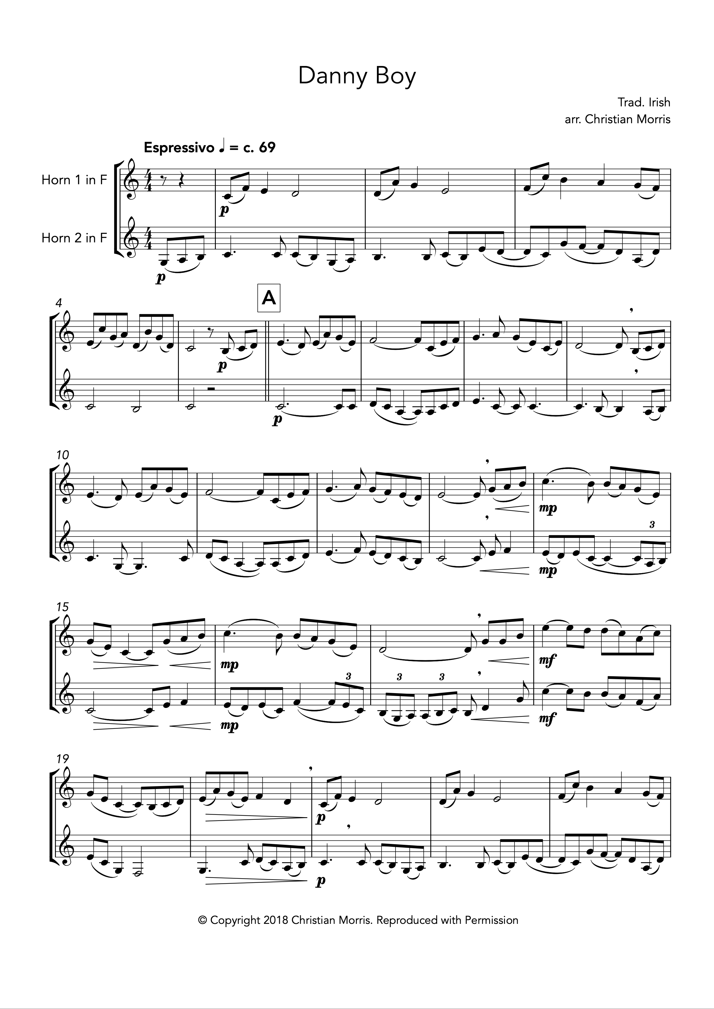 Danny Boy, fantasy for French horn duet