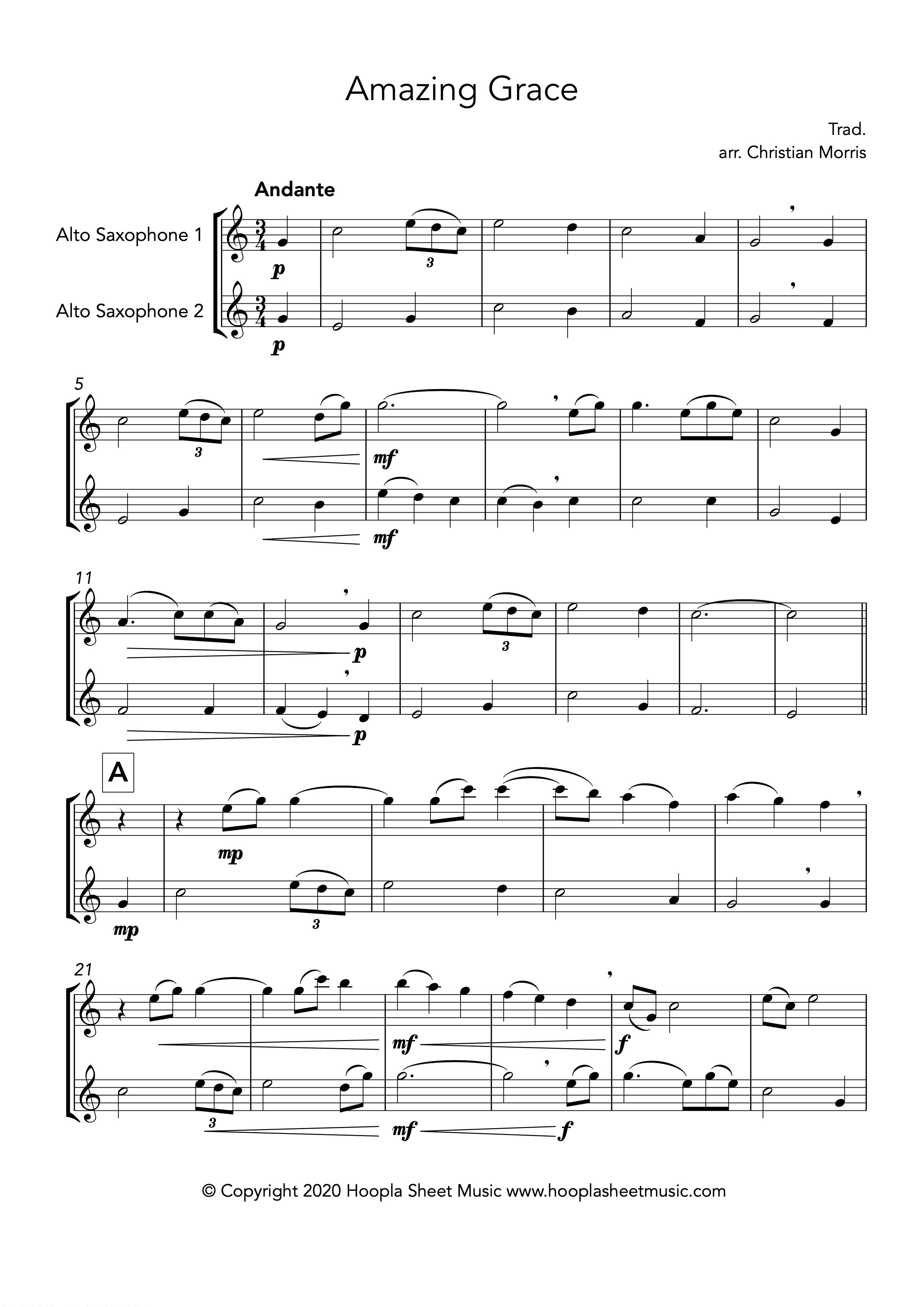 Amazing Grace (Alto Saxophone Duet)