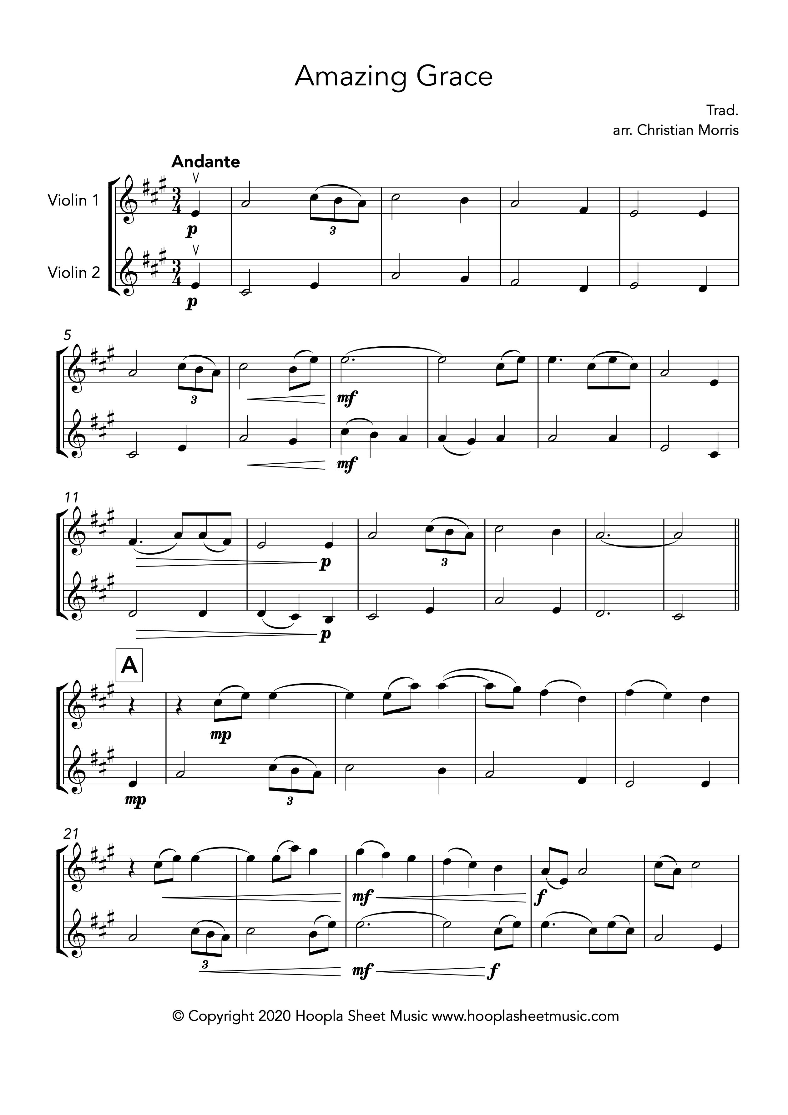 Amazing Grace (Violin Duet)
