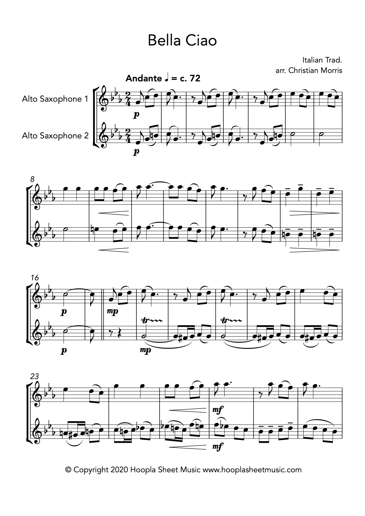 Bella Ciao (Alto Saxophone Duet)