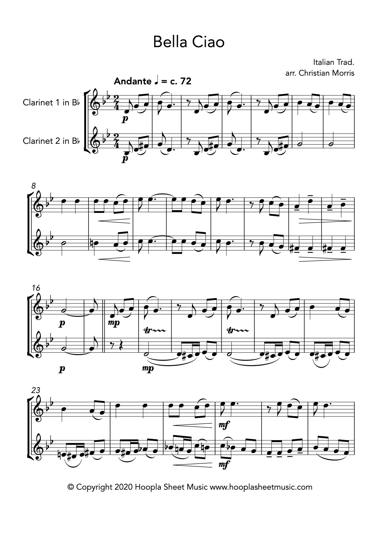 Bella Ciao (Clarinet Duet)