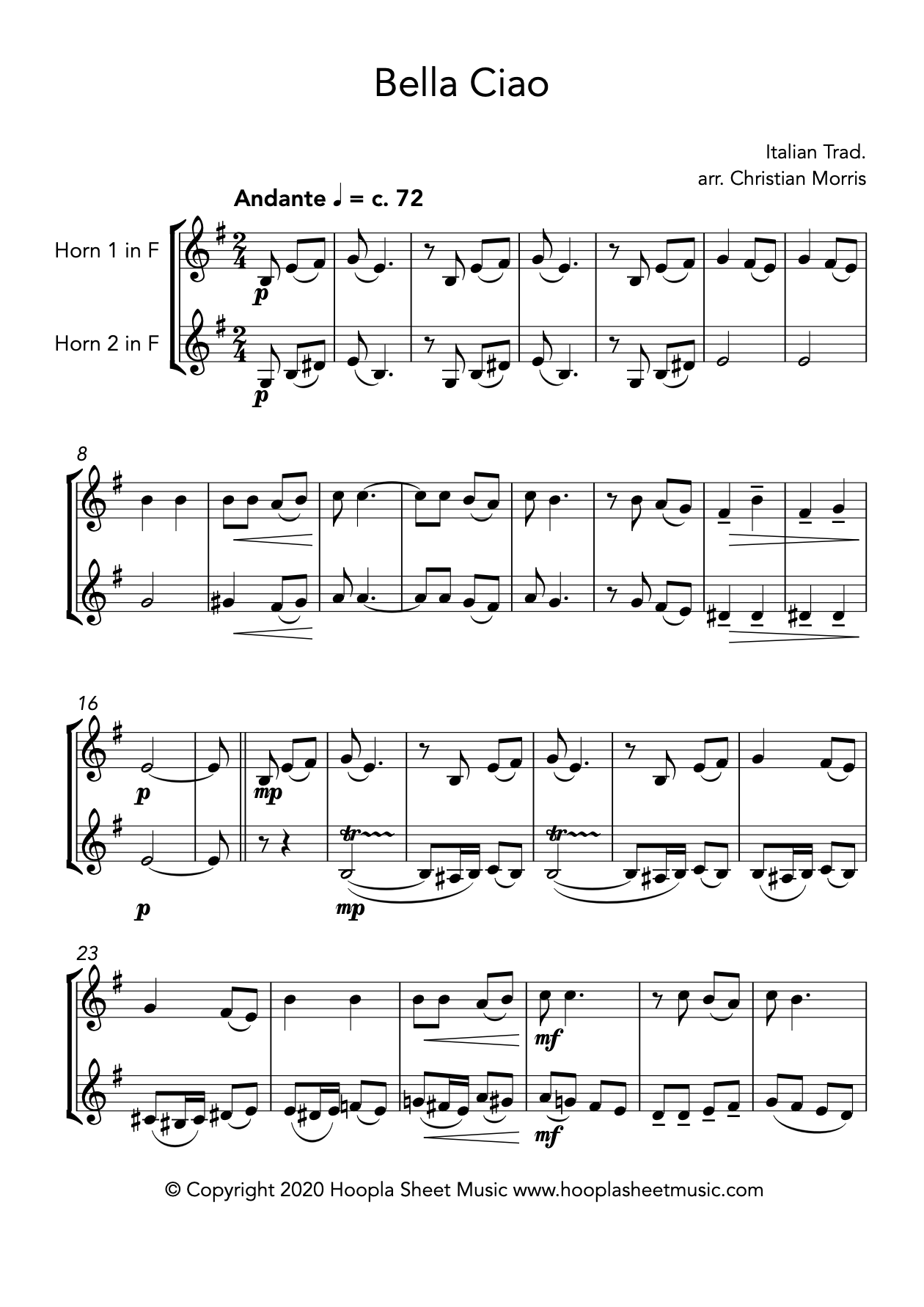 Bella Ciao (French Horn Duet)