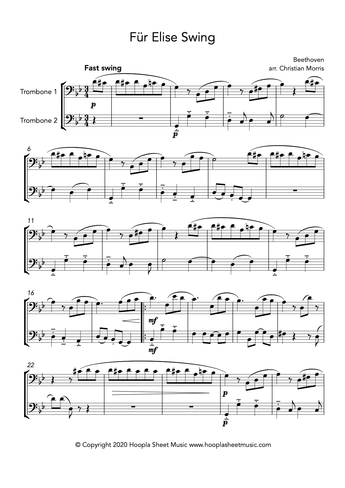 Für Elise Swing (Trombone Duet)