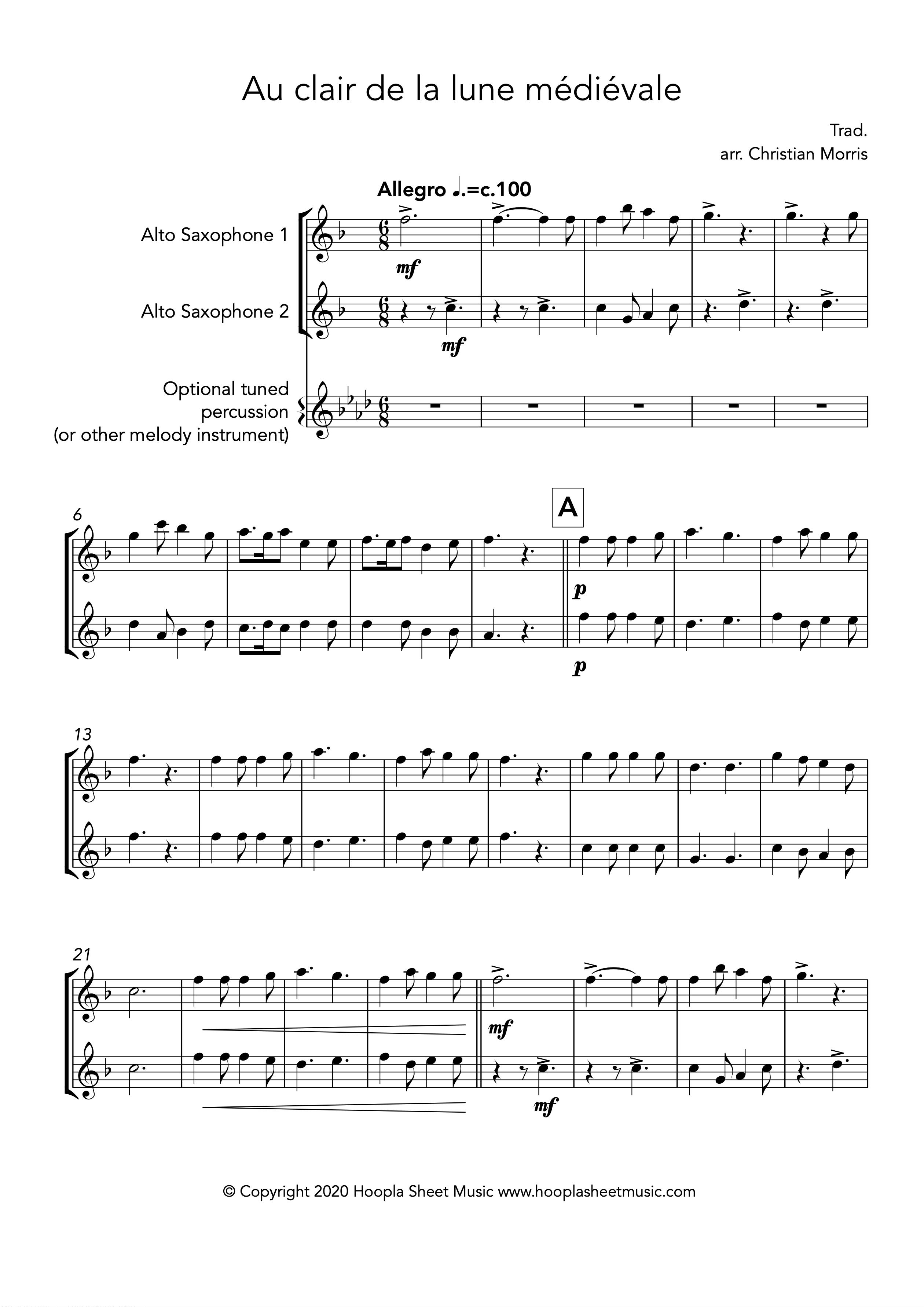 Au clair de la lune médiévale (Alto Saxophone Duet)