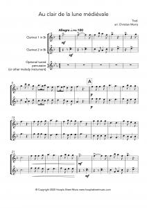 Au clair de la lune médiévale (Clarinet Duet)