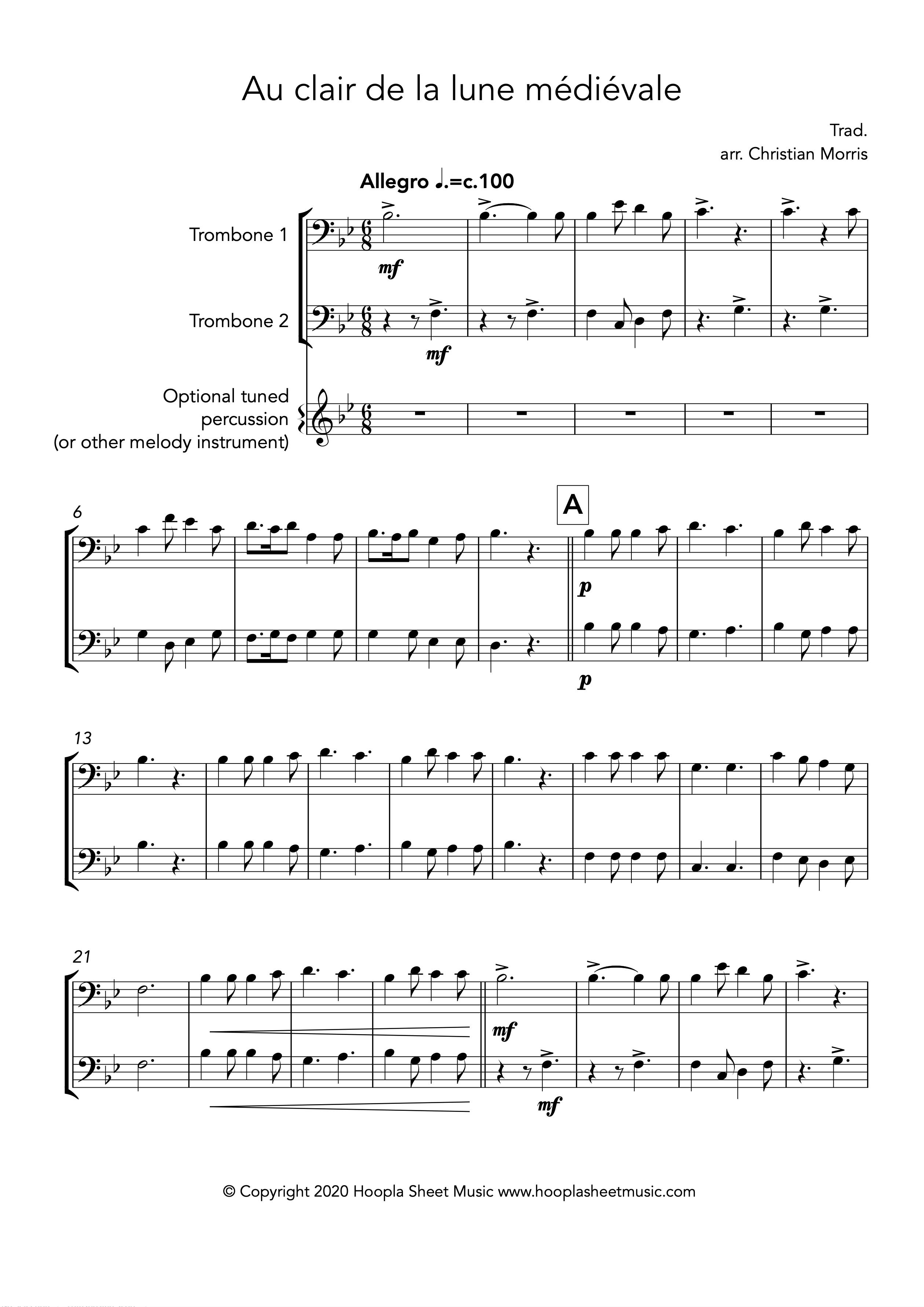 Au clair de la lune médiévale (Trombone Duet)
