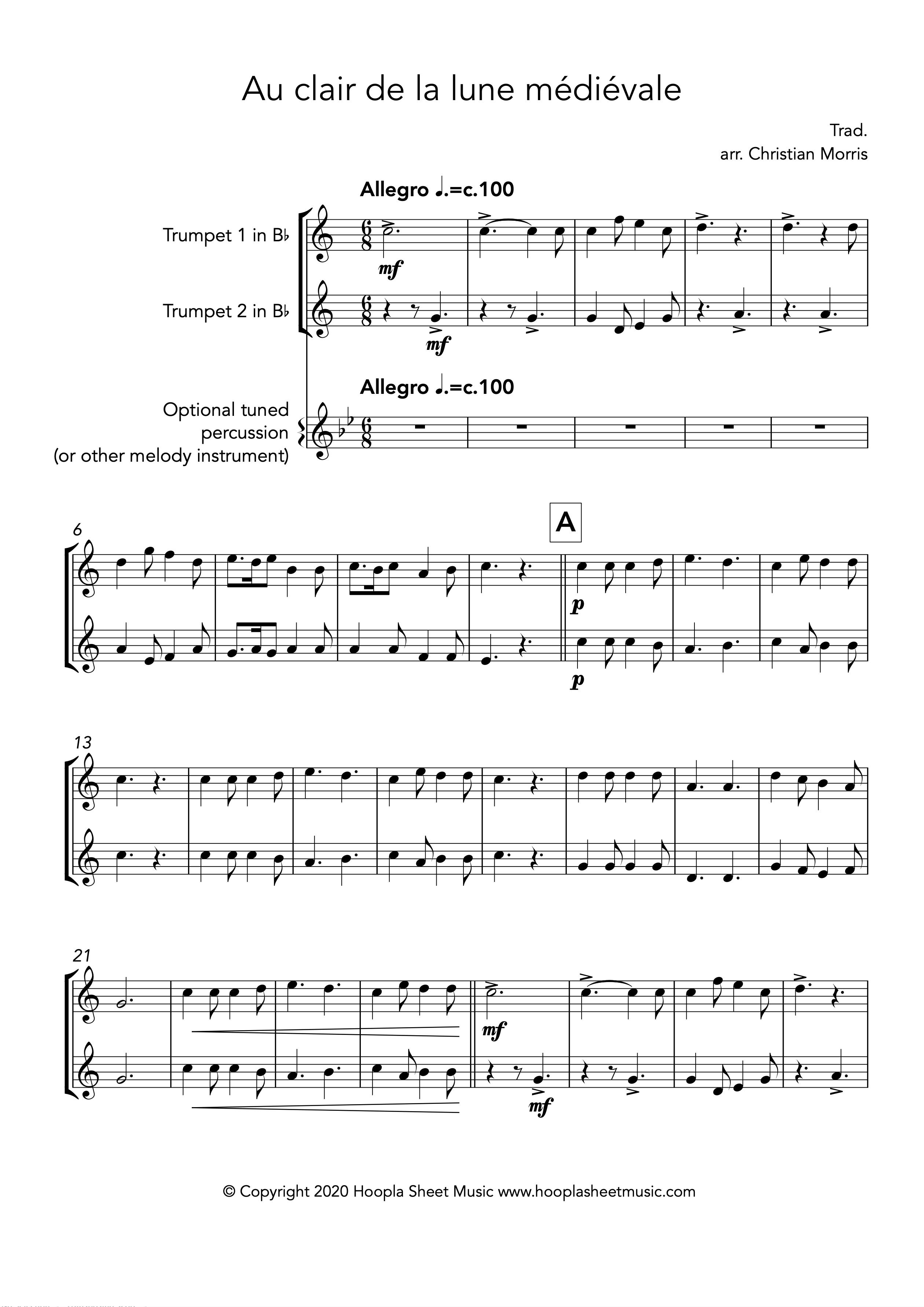 Au clair de la lune médiévale (Trumpet Duet)