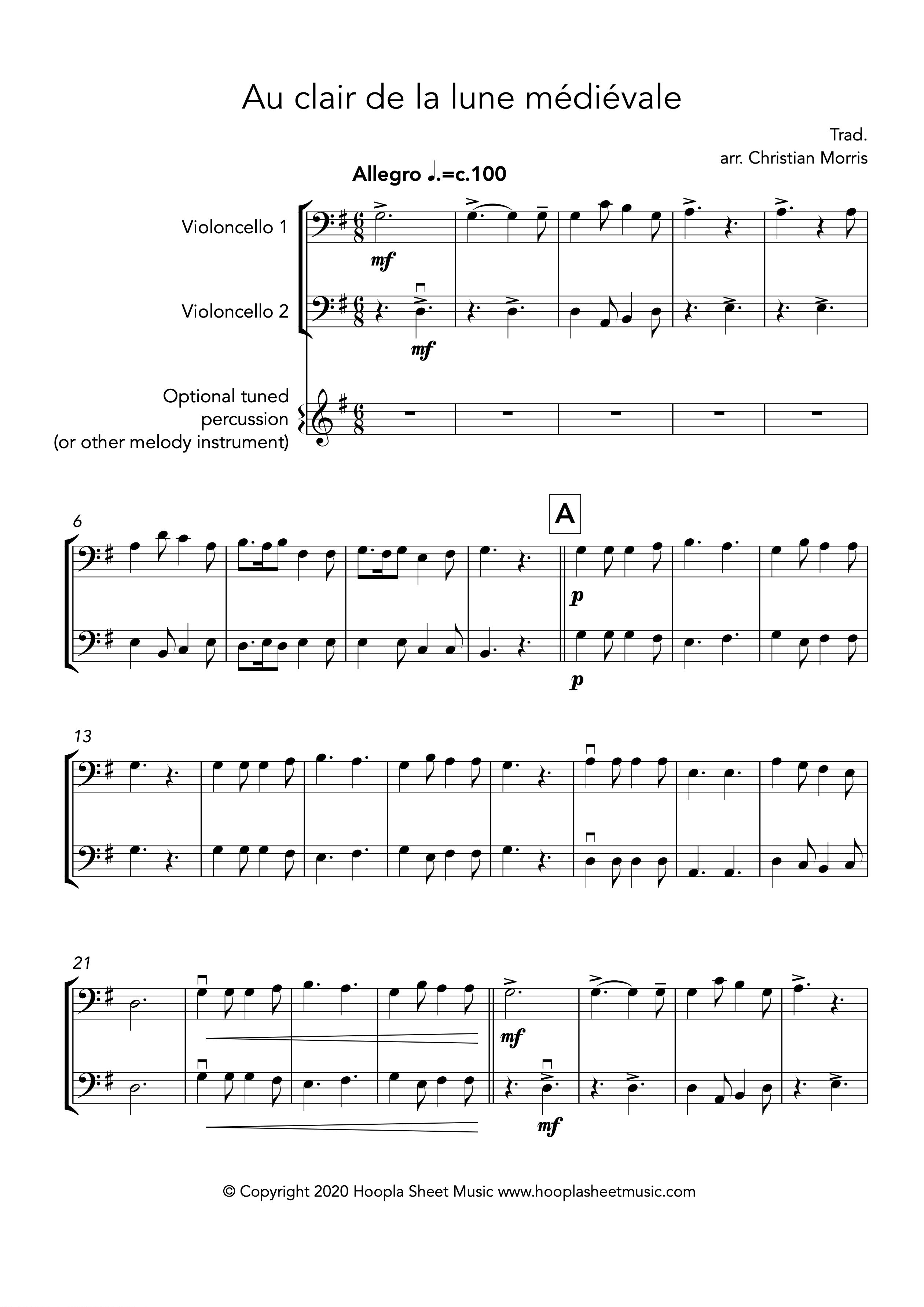 Au clair de la lune médiévale (Cello Duet)