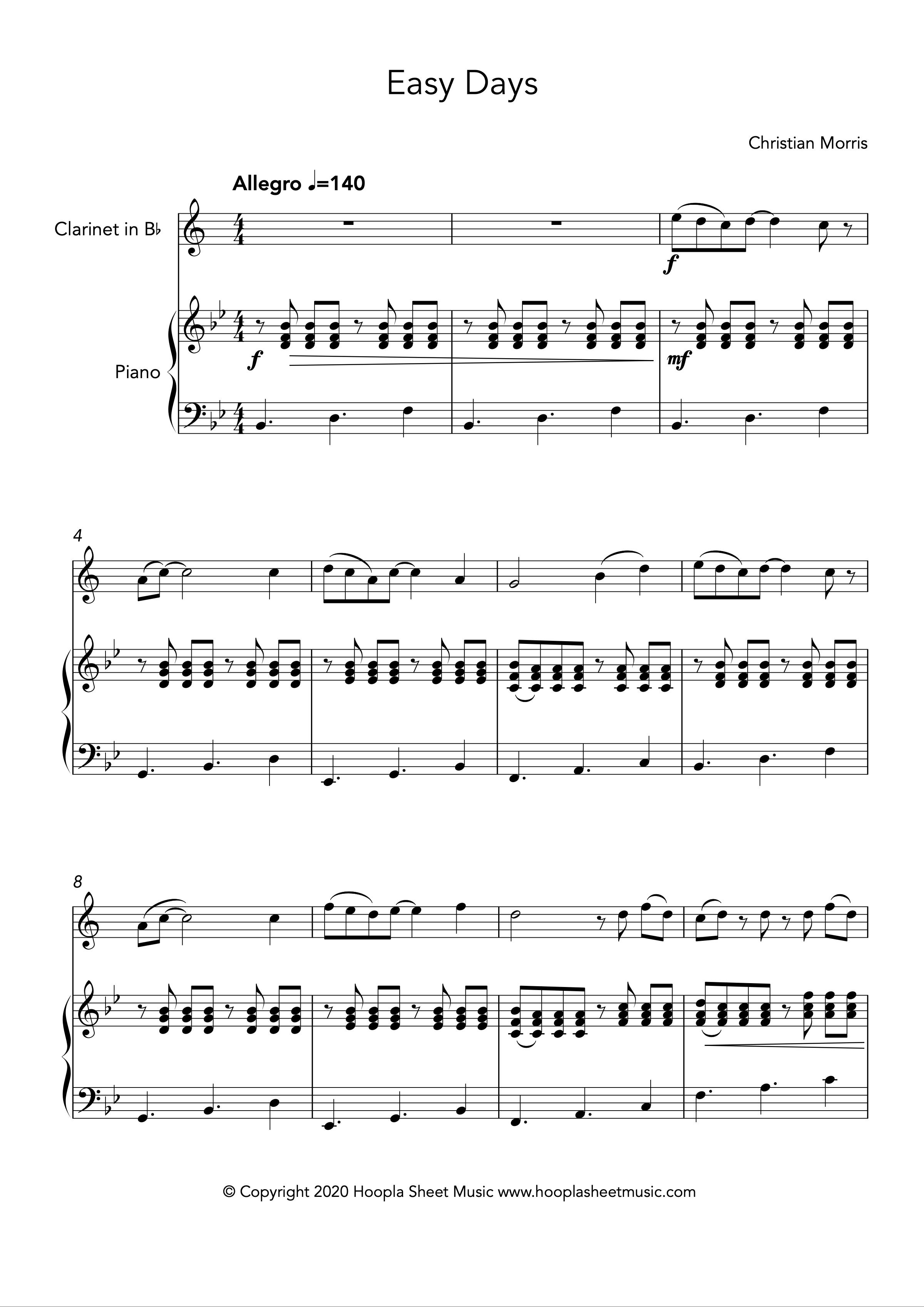 Easy Days (Clarinet and Piano)