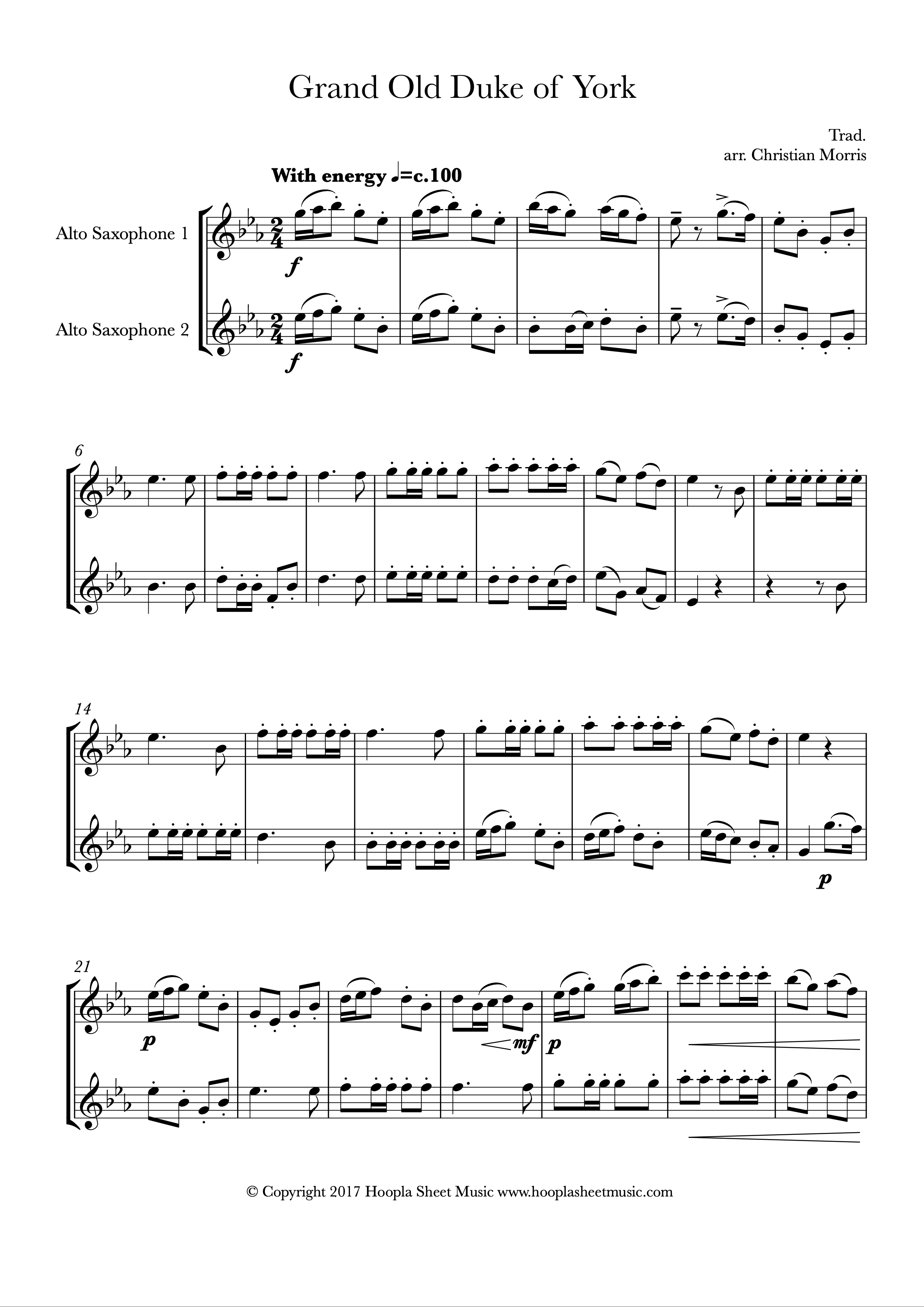 The Grand Old Duke of York (Alto Saxophone Duet)