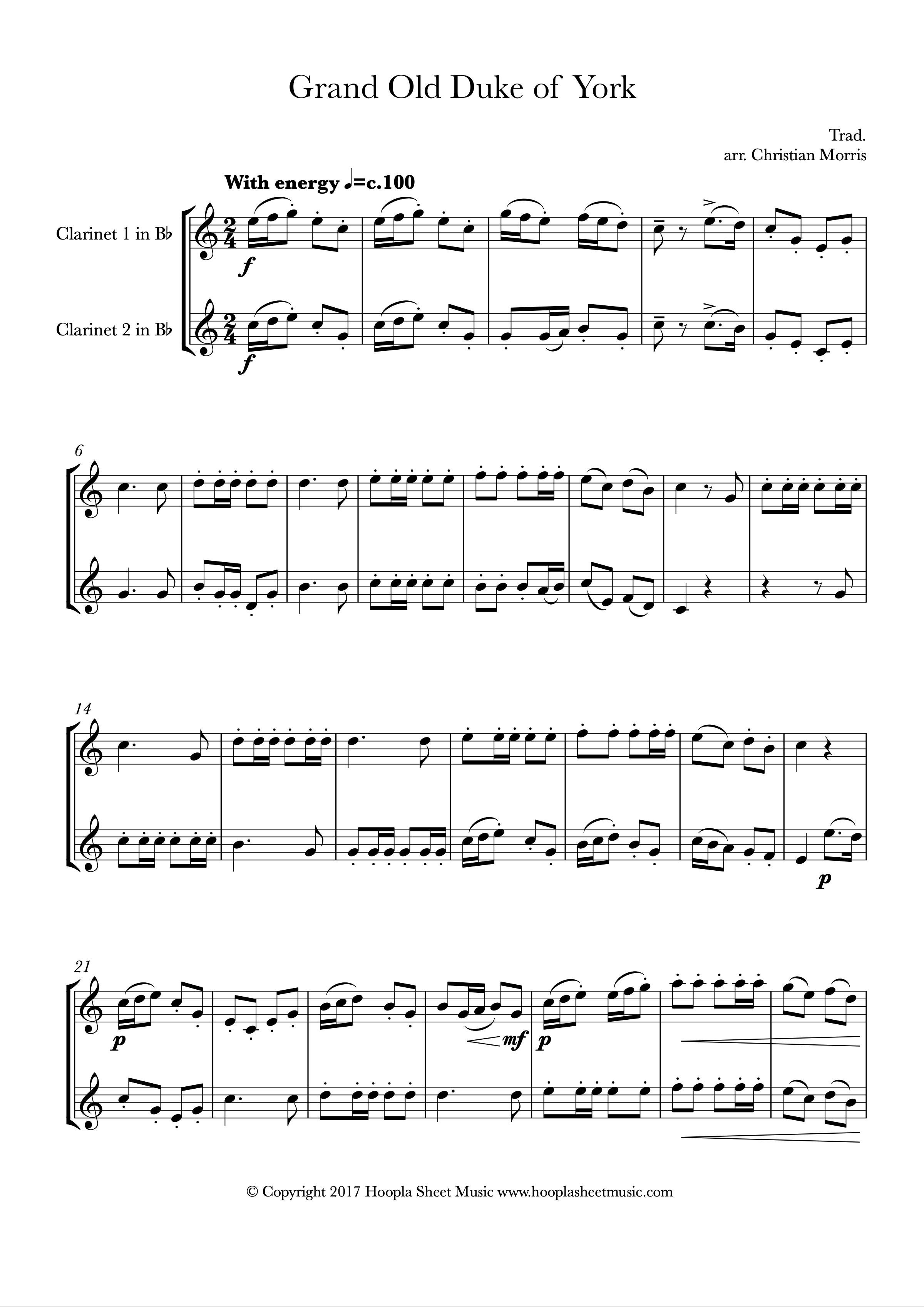 The Grand Old Duke of York (Clarinet Duet)
