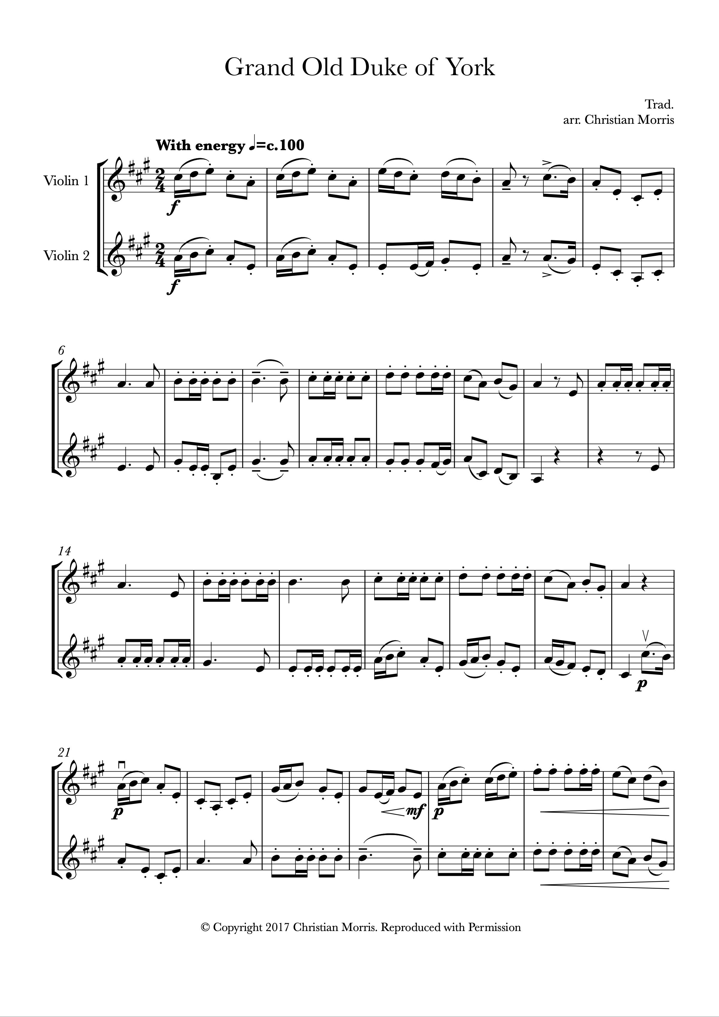 The Grand Old Duke of York (Violin Duet)
