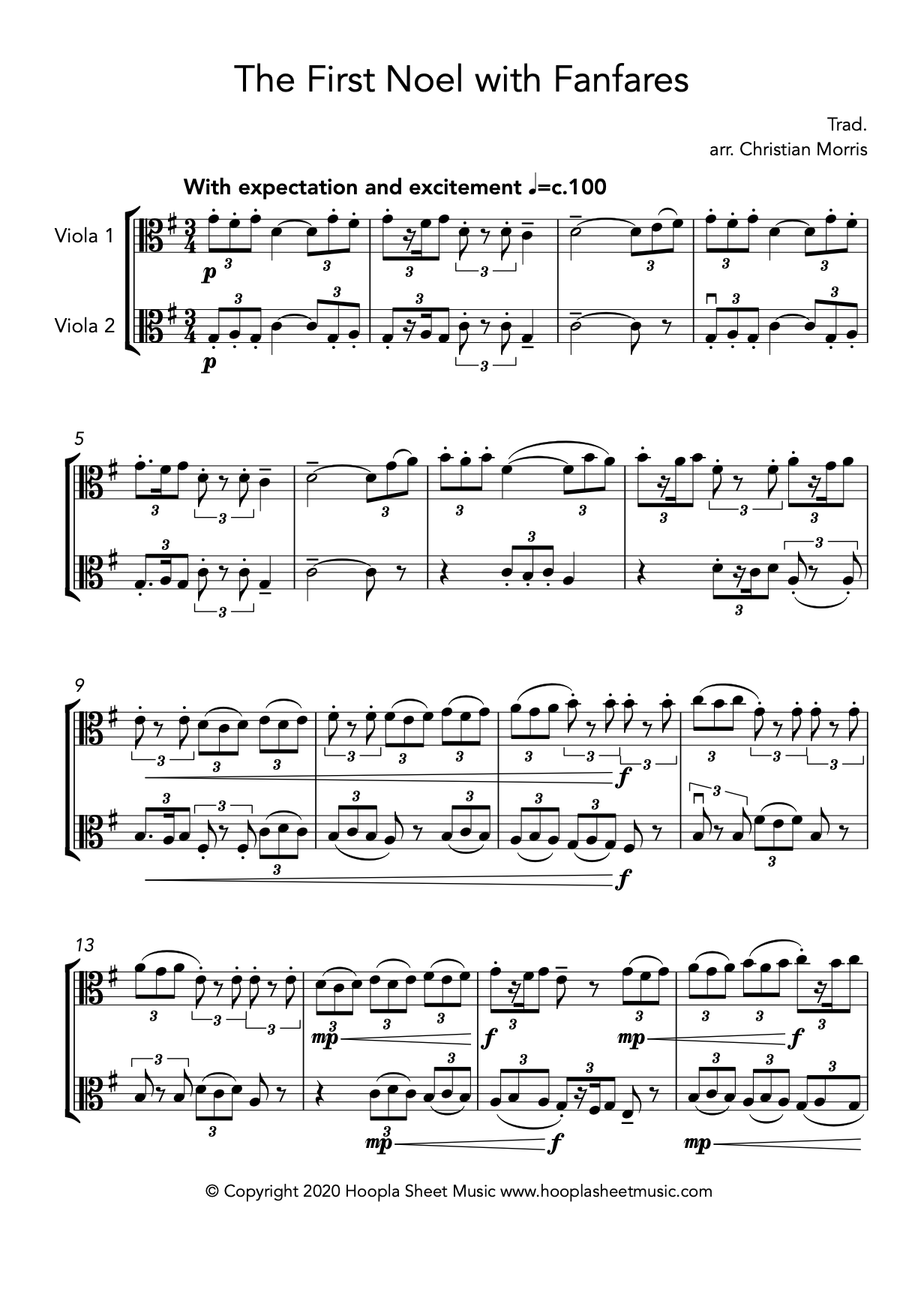 The First Noel with Fanfares (Viola Duet)