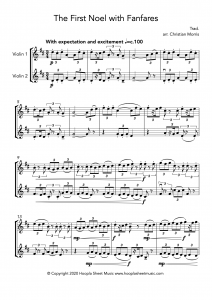 The First Noel with Fanfares (Violin Duet)