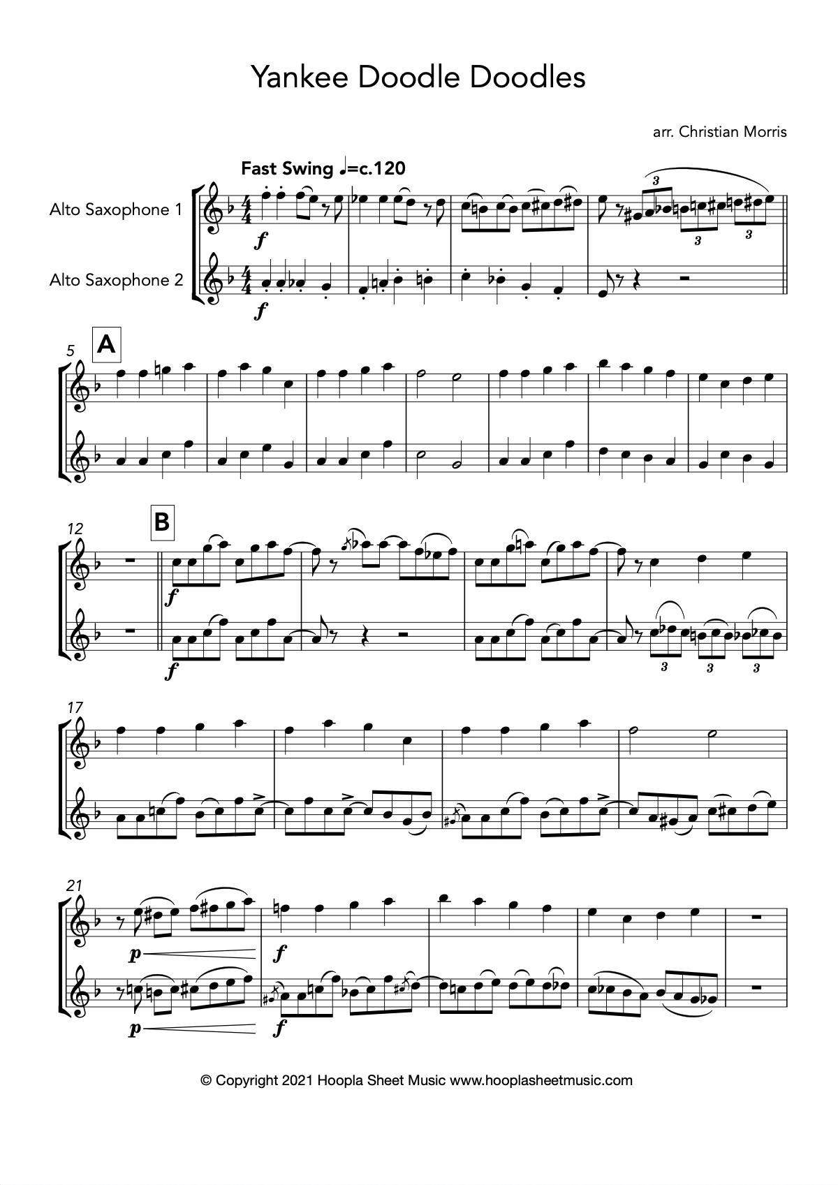 Yankee Doodle Doodles (Alto Saxophone Duet)