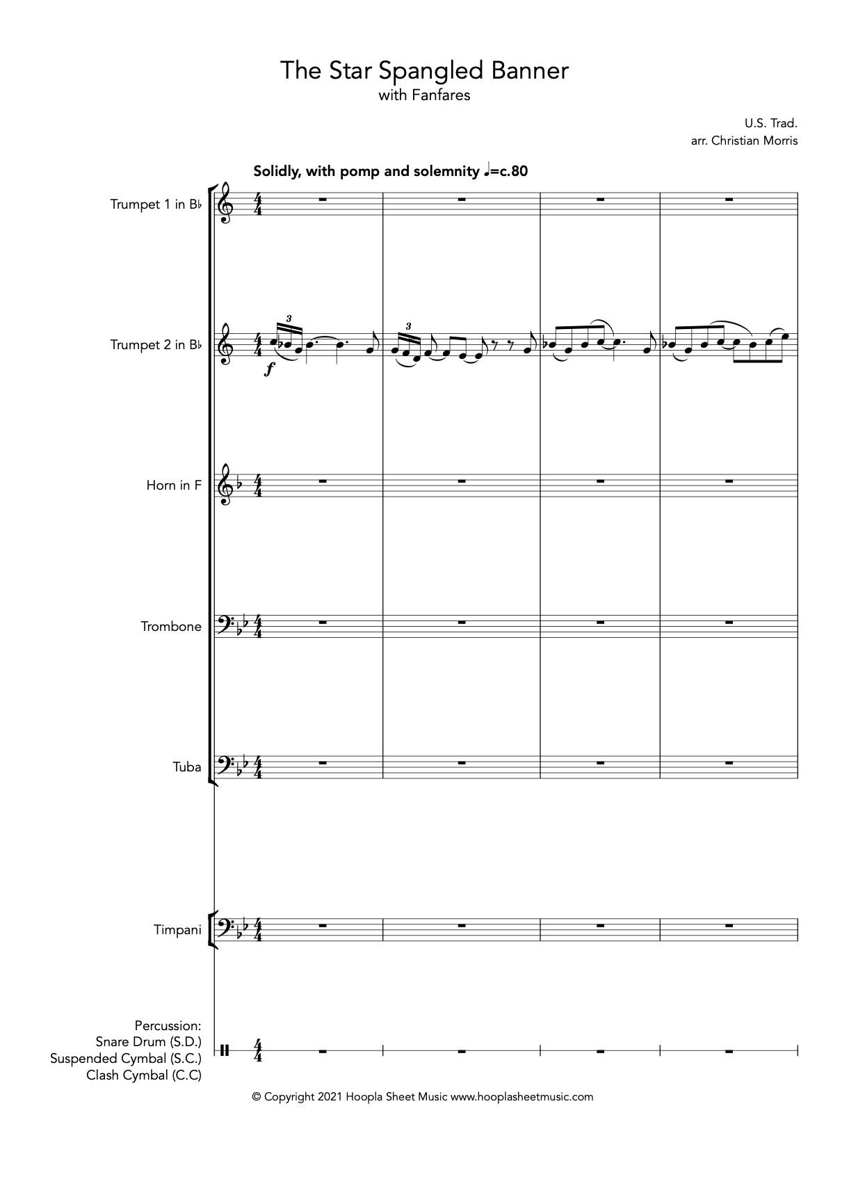 The Star Spangled Banner with Fanfares (Massed Brass/Brass Octet)