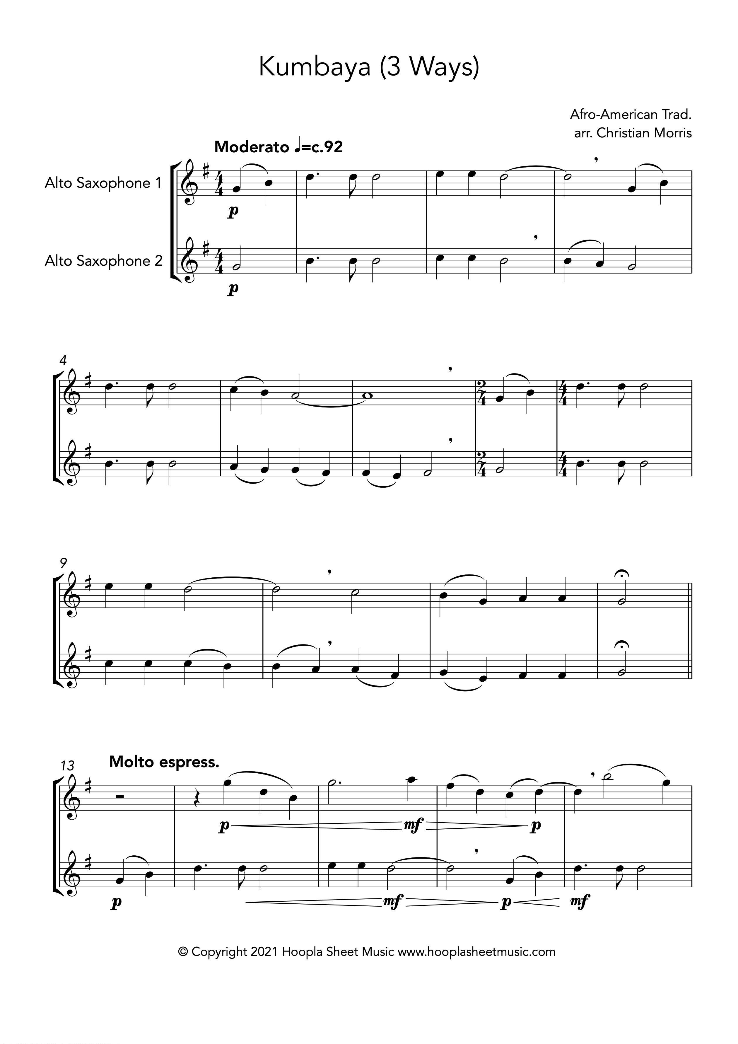 Kumbaya (Alto Saxophone Duet)