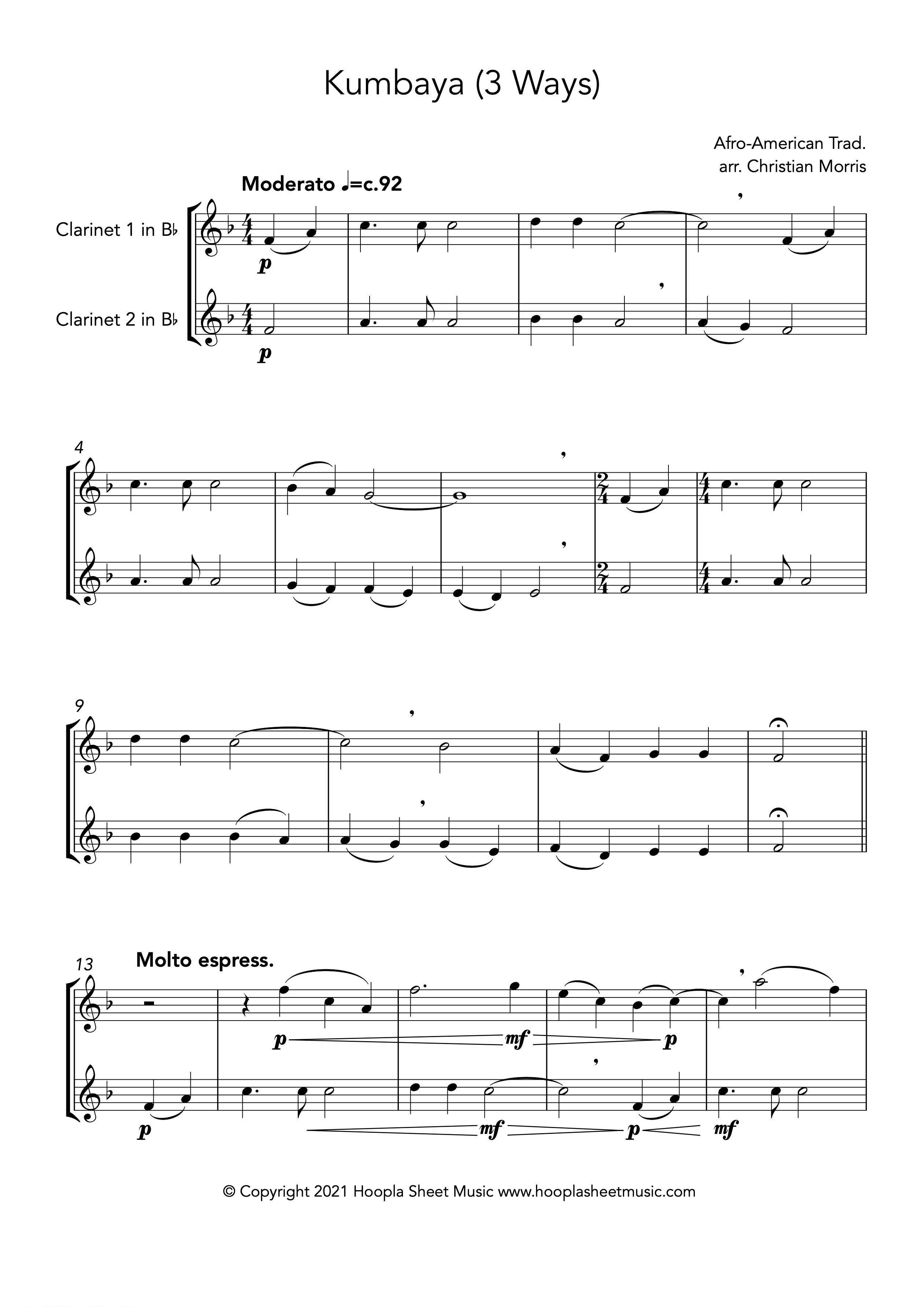 Kumbaya (Clarinet Duet)