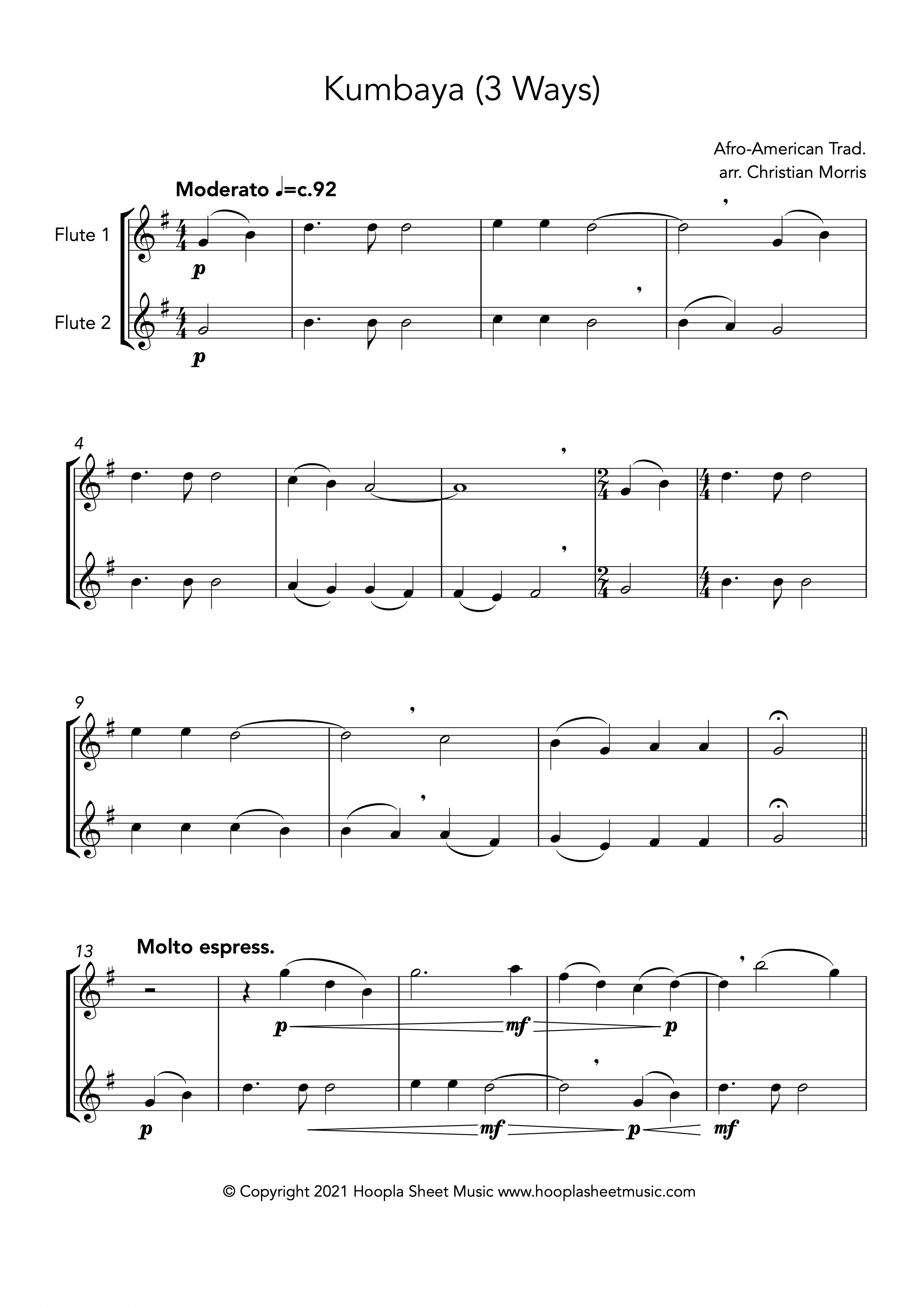 Kumbaya (Flute Duet)