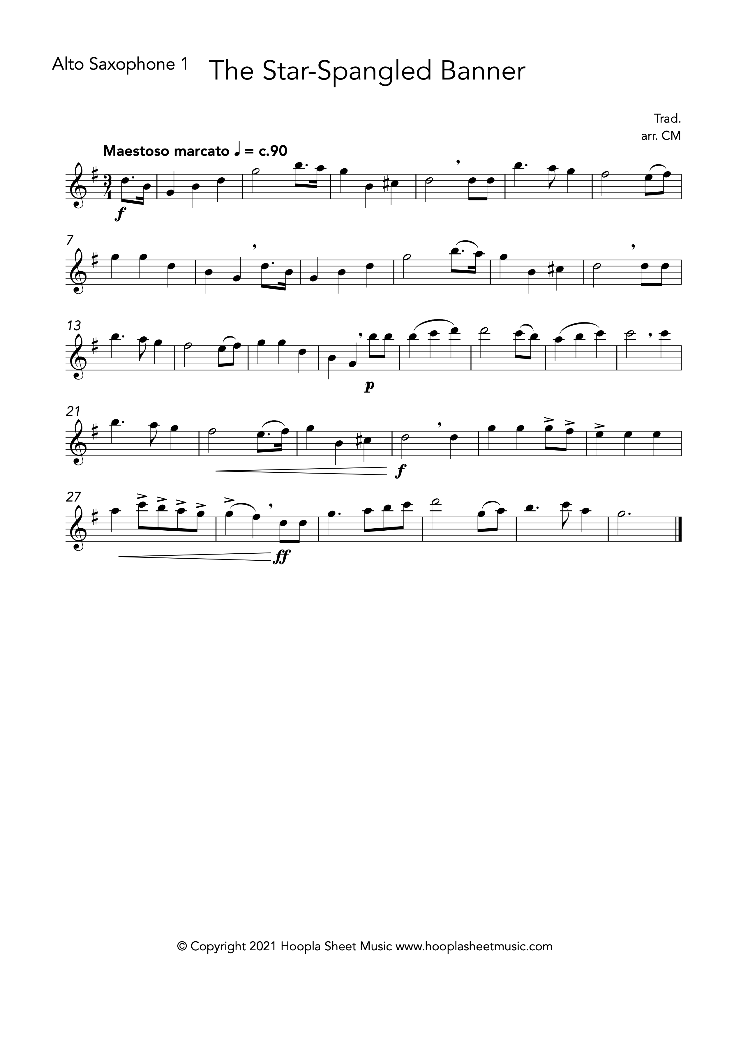 The Star Spangled Banner (Alto Saxophone Duet)