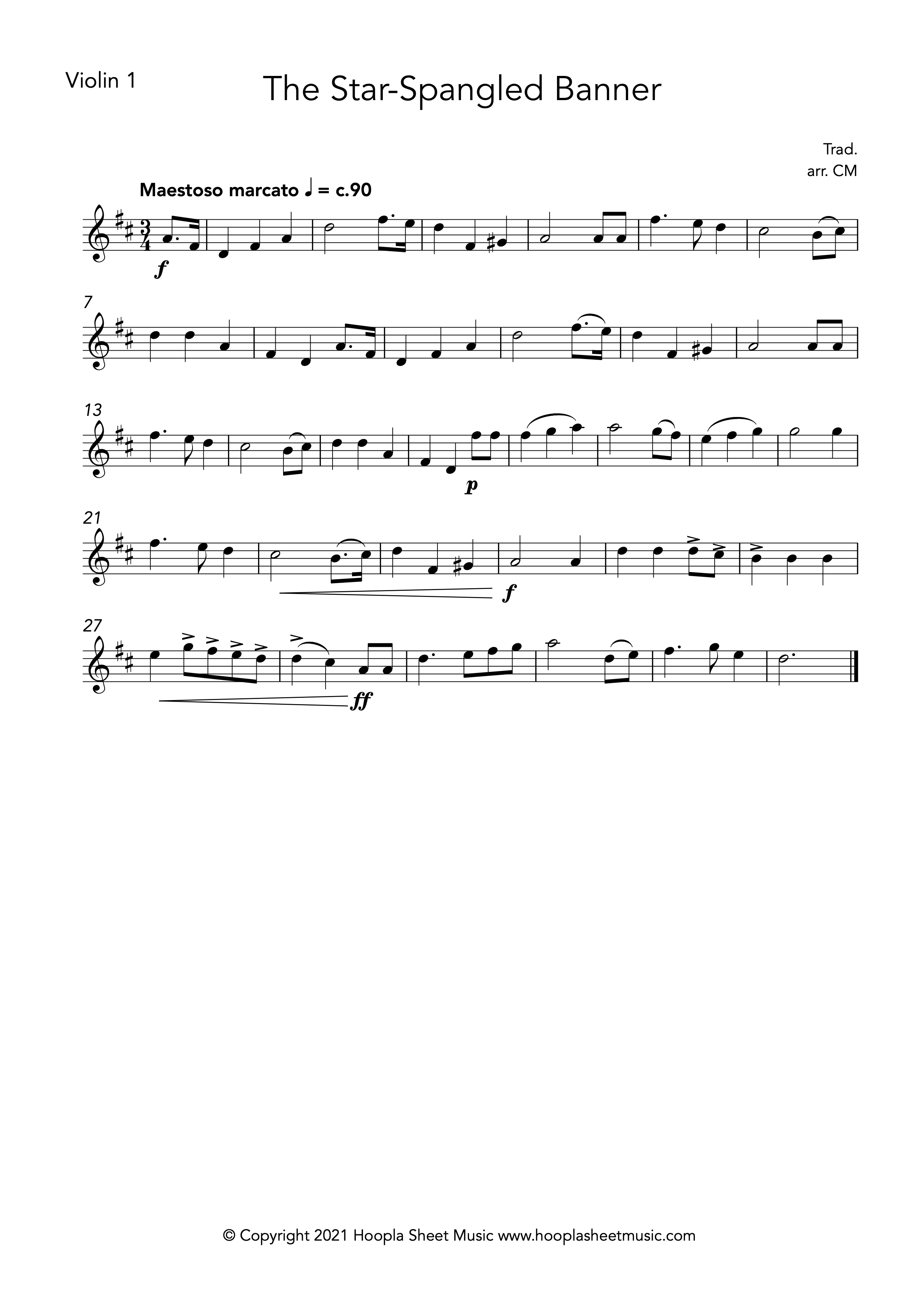 The Star Spangled Banner (Violin Duet)