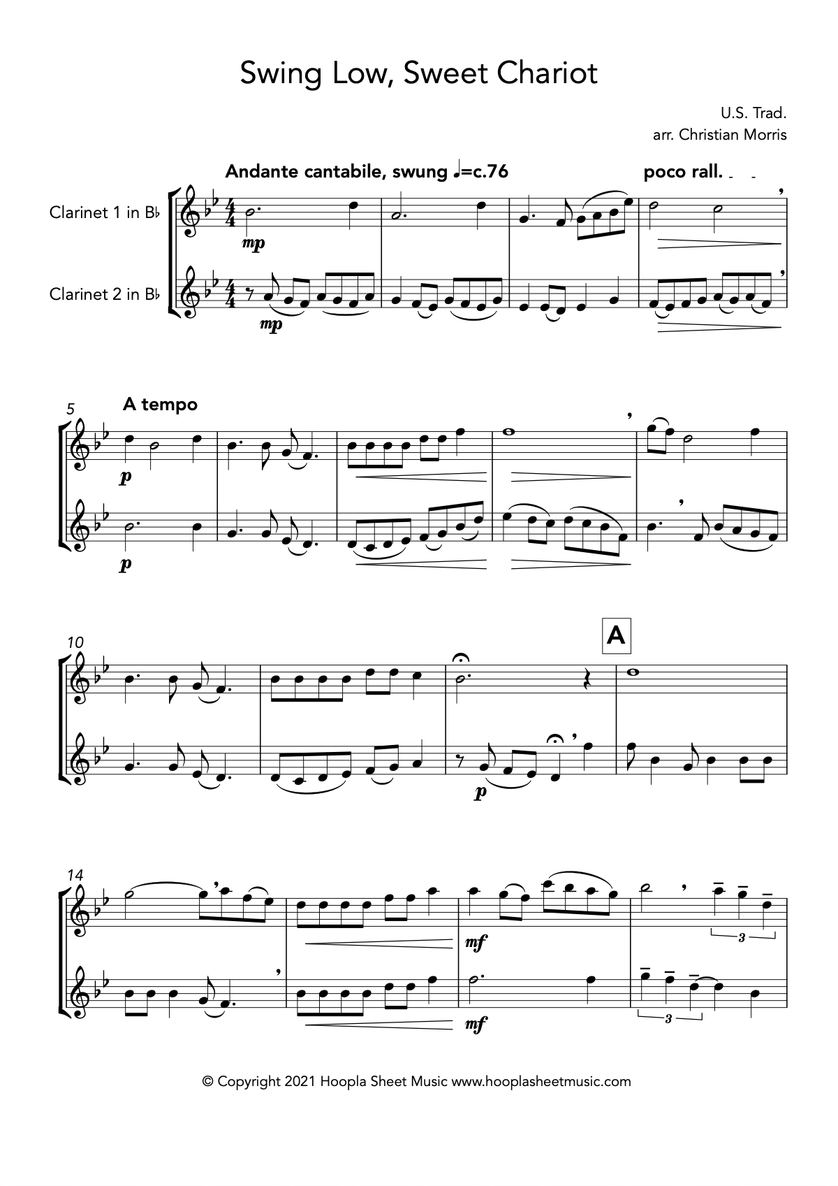 Swing Low, Sweet Chariot (Clarinet Duet)