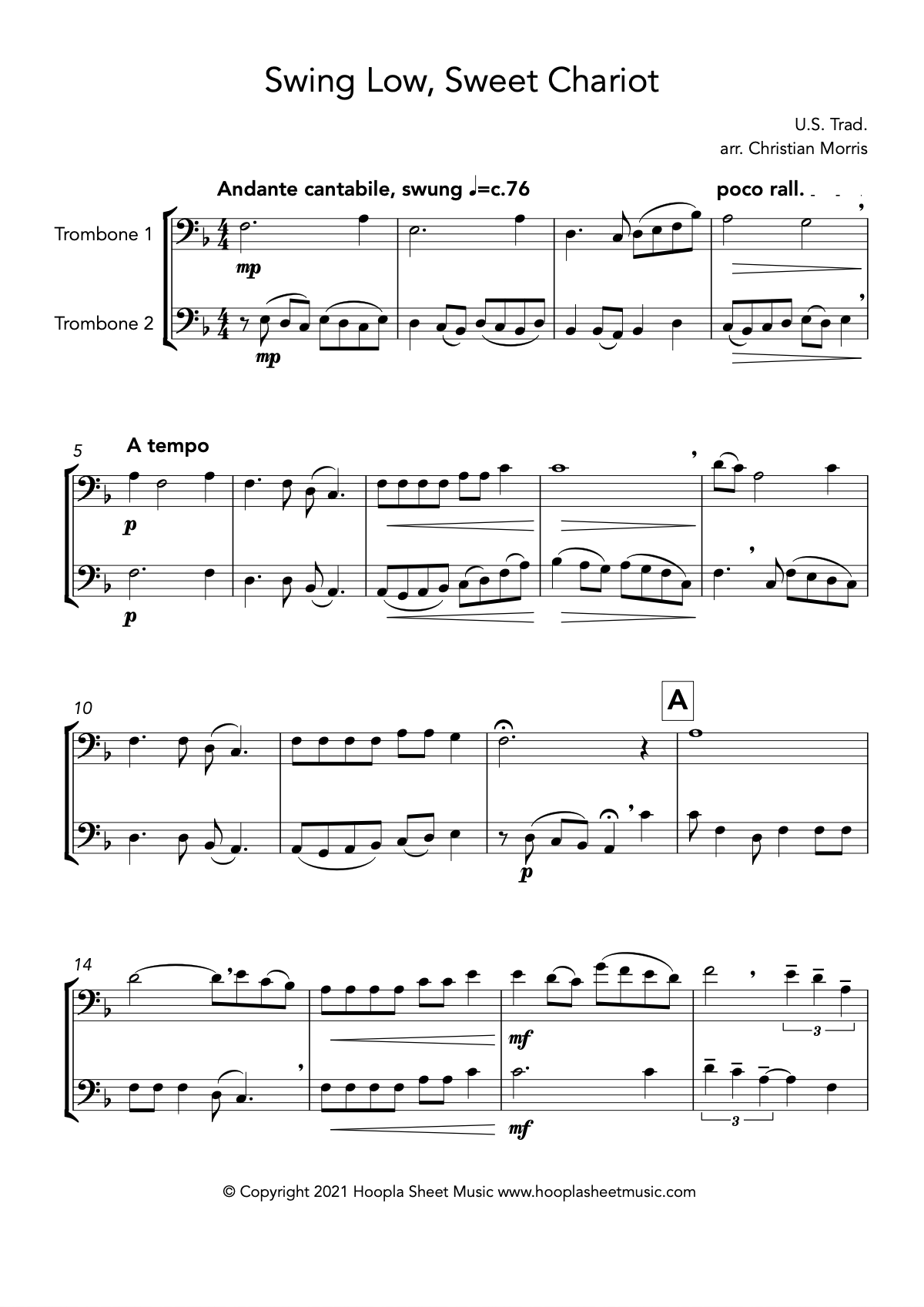 Swing Low, Sweet Chariot (Trombone Duet)