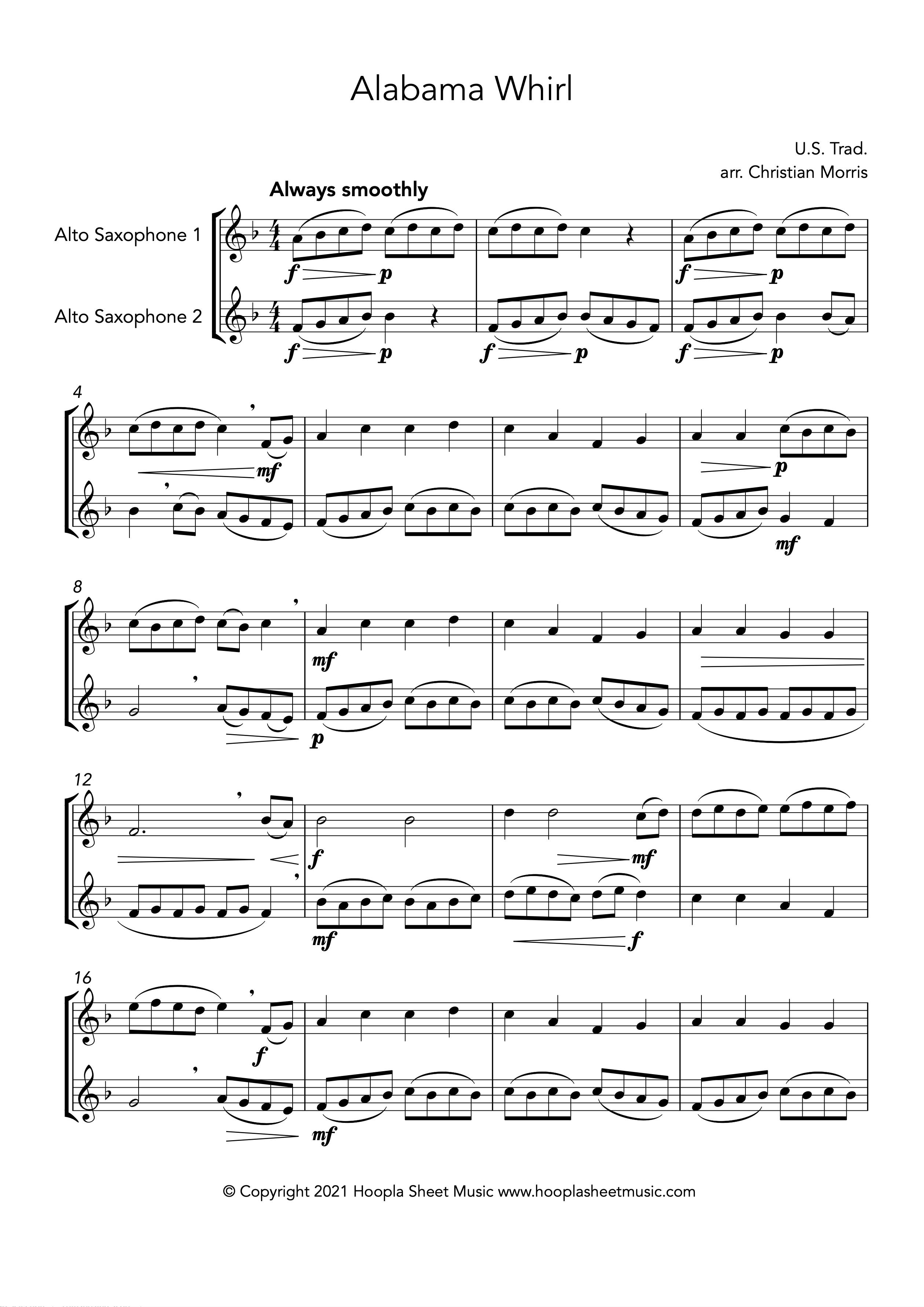 Alabama Whirl (Oh Susanna!) (Alto Saxophone Duet)
