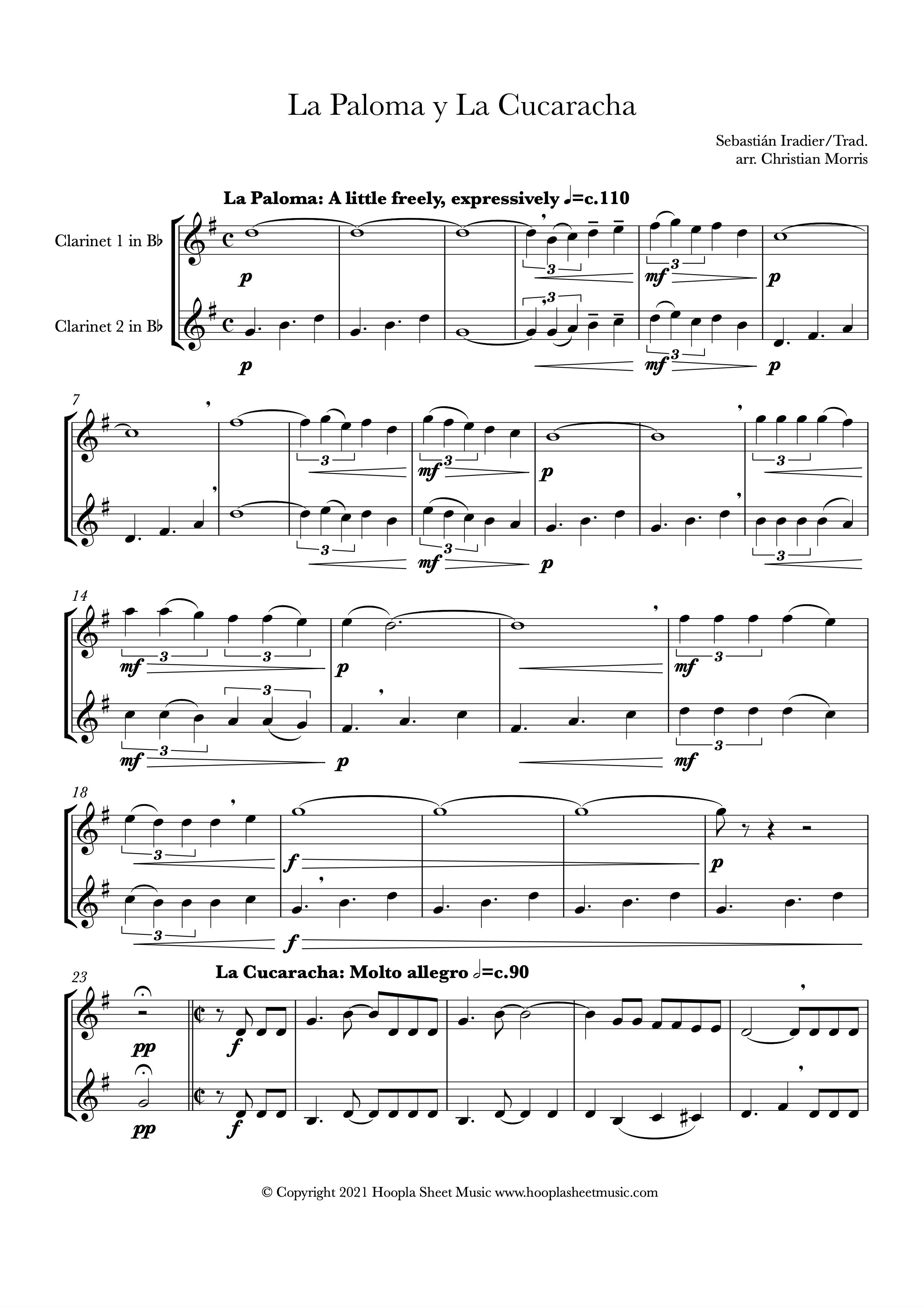 La Paloma y La Cucaracha (Clarinet Duet)