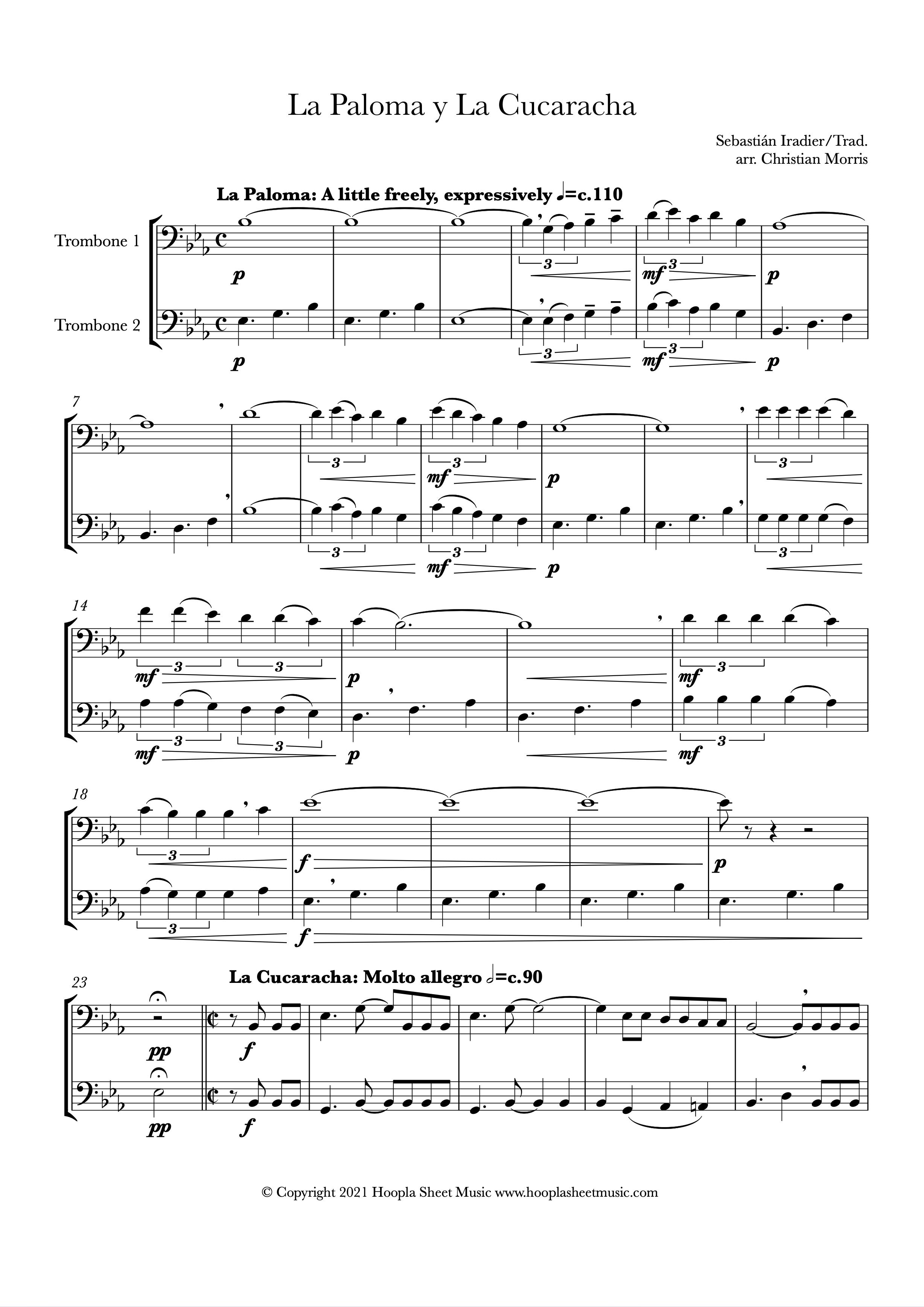 La Paloma y La Cucaracha (Trombone Duet)