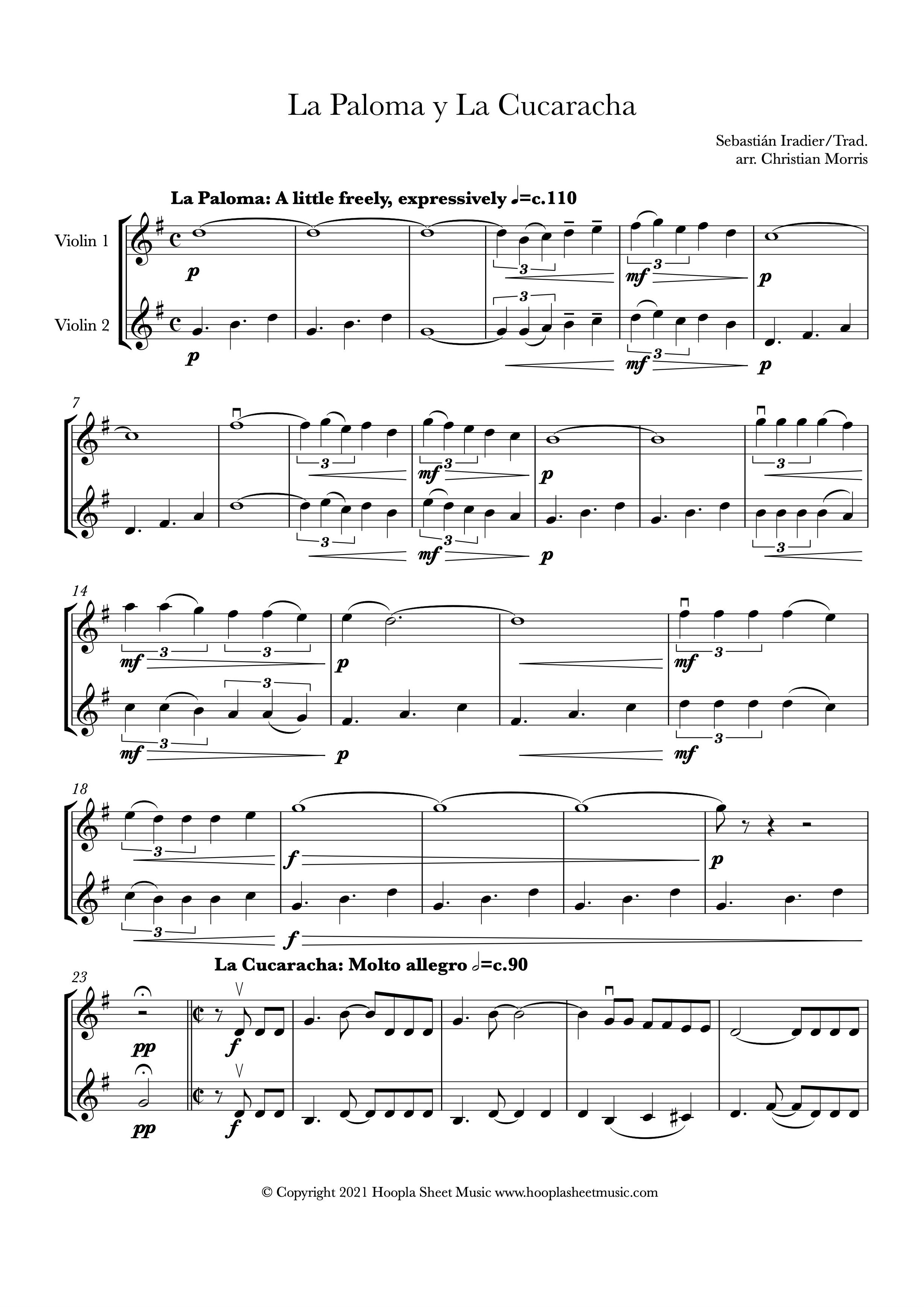 La Paloma y La Cucaracha (Violin Duet)