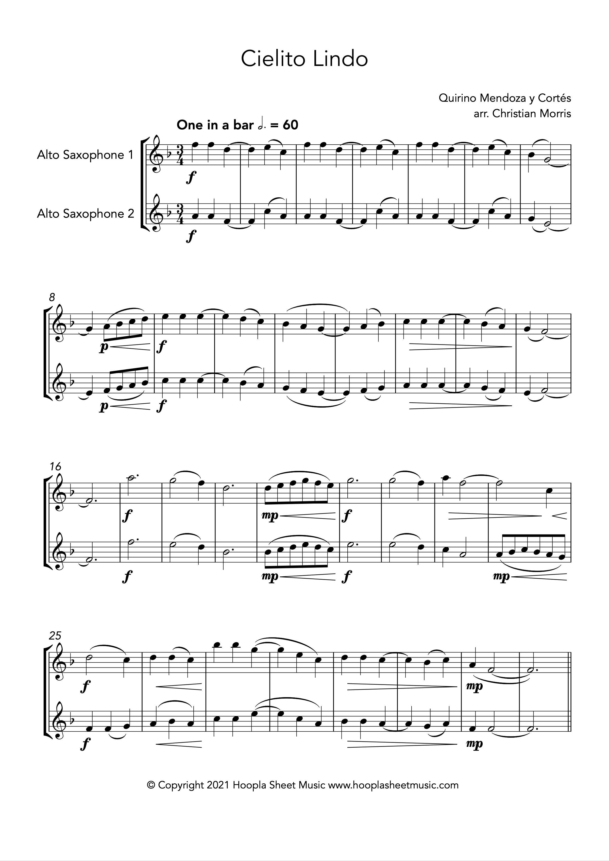 Cielito Lindo (Alto Saxophone Duet)