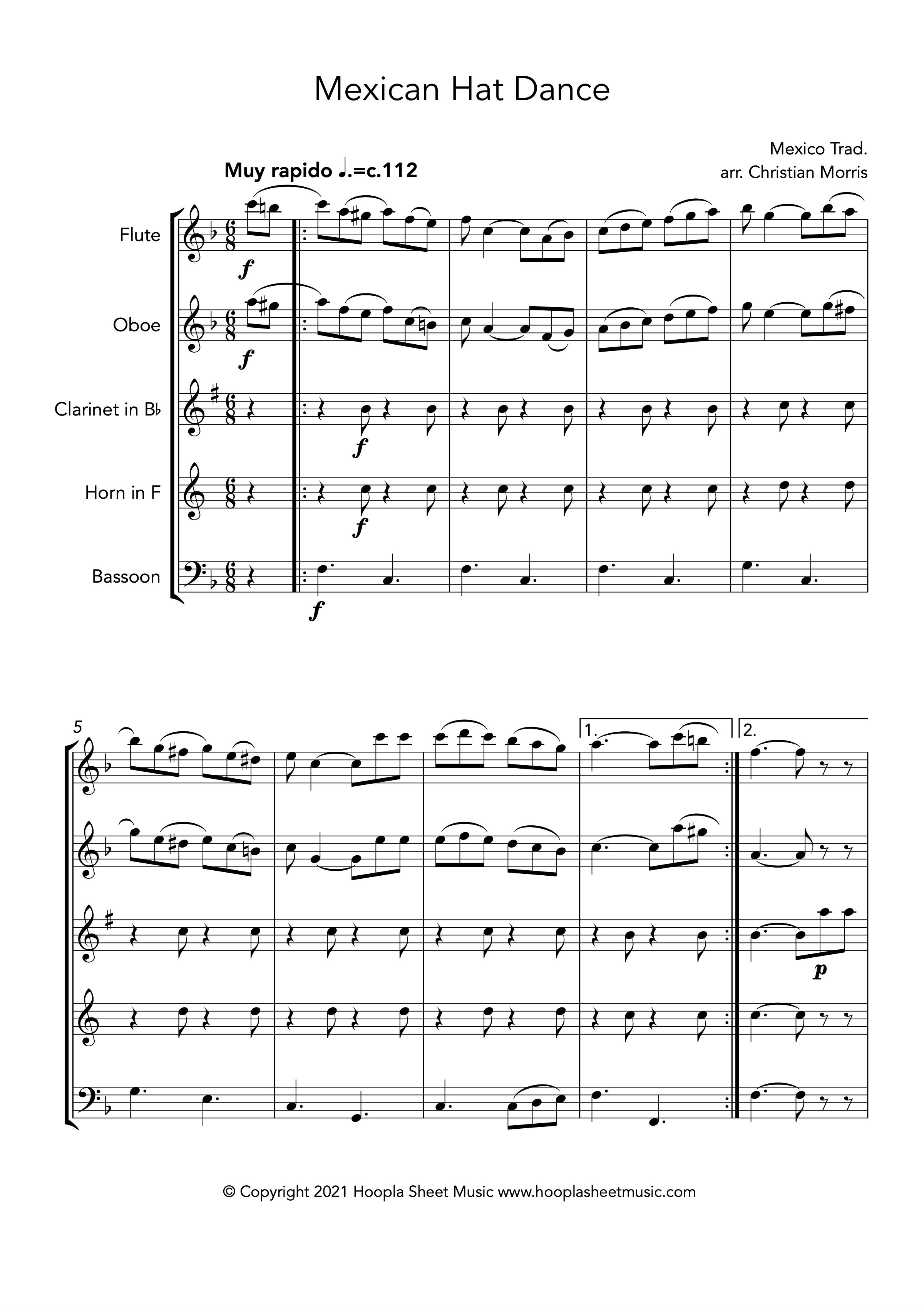 Mexican Hat Dance (Wind Quintet)