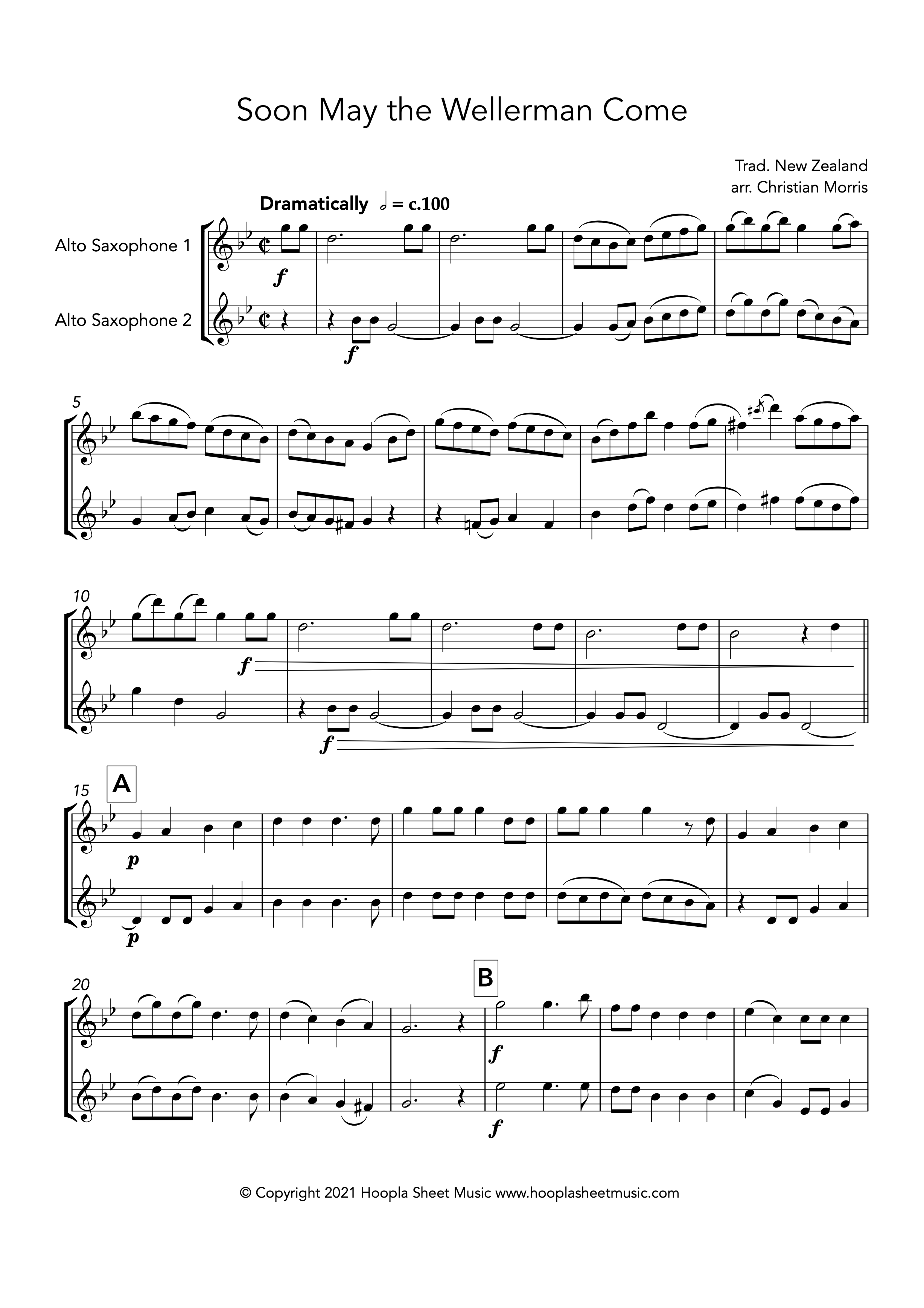 Soon May the Wellerman Come (Alto Saxophone Duet)
