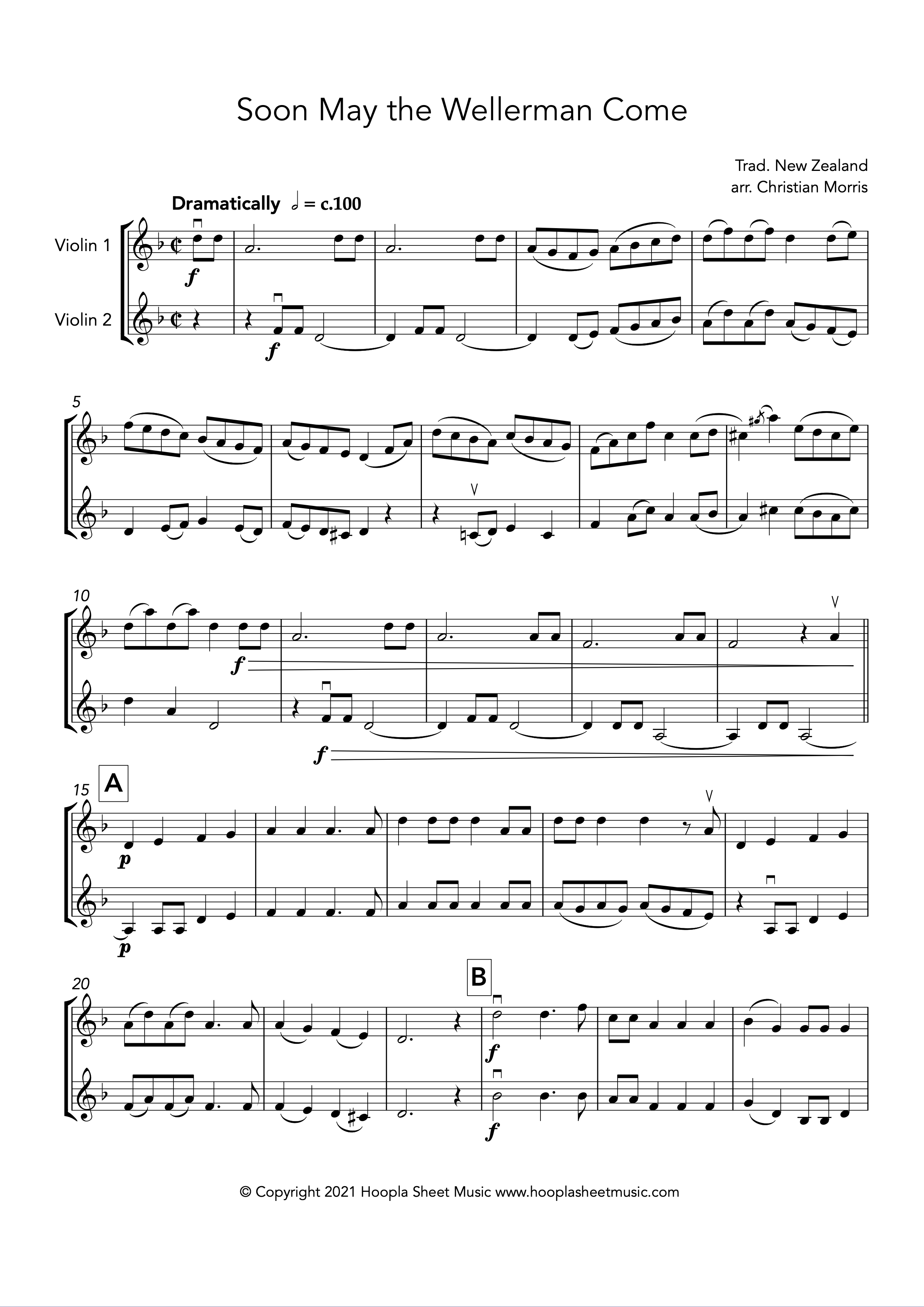 Soon May the Wellerman Come (Violin Duet)