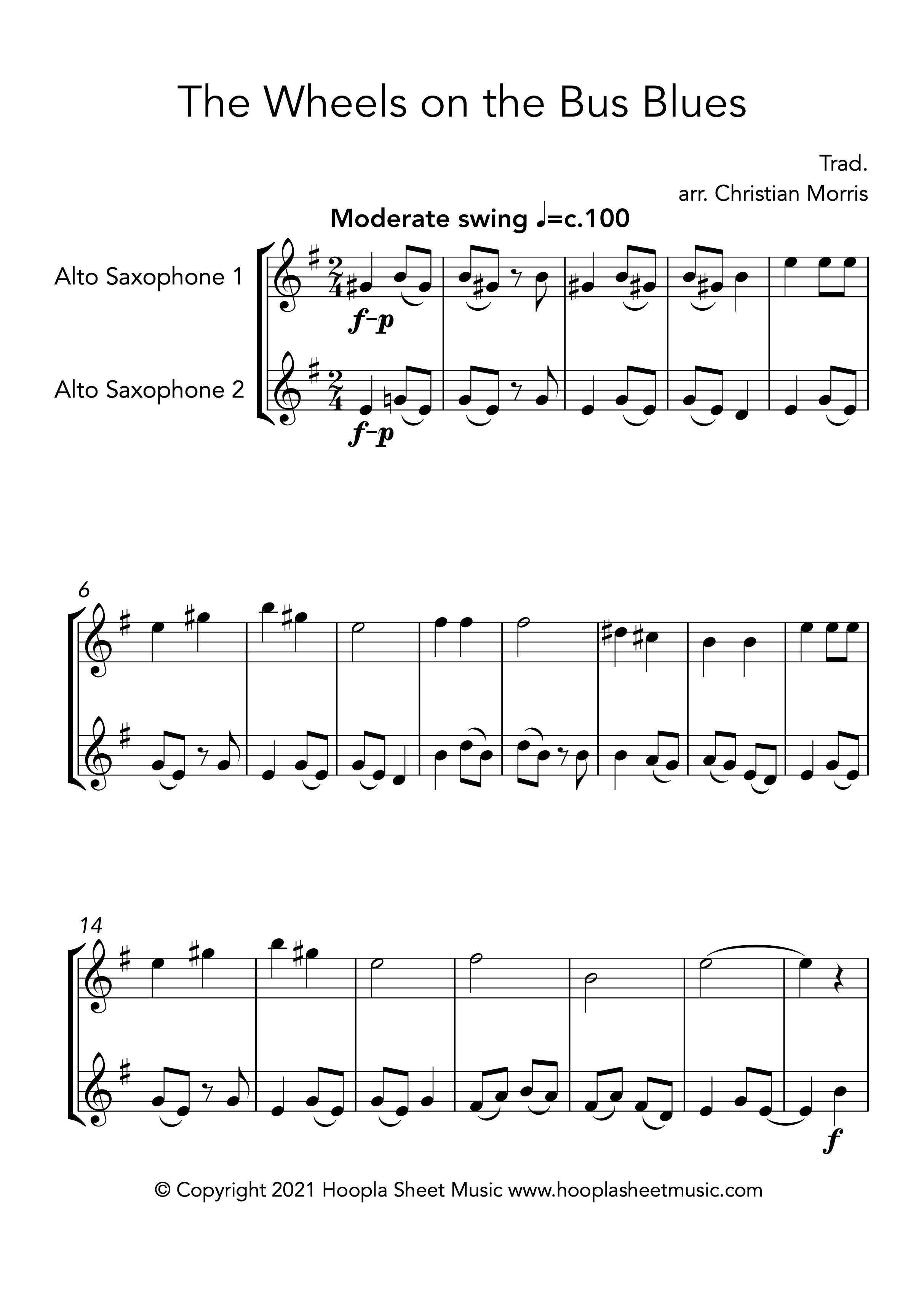 The Wheels on the Bus Blues (Alto Saxophone Duet)