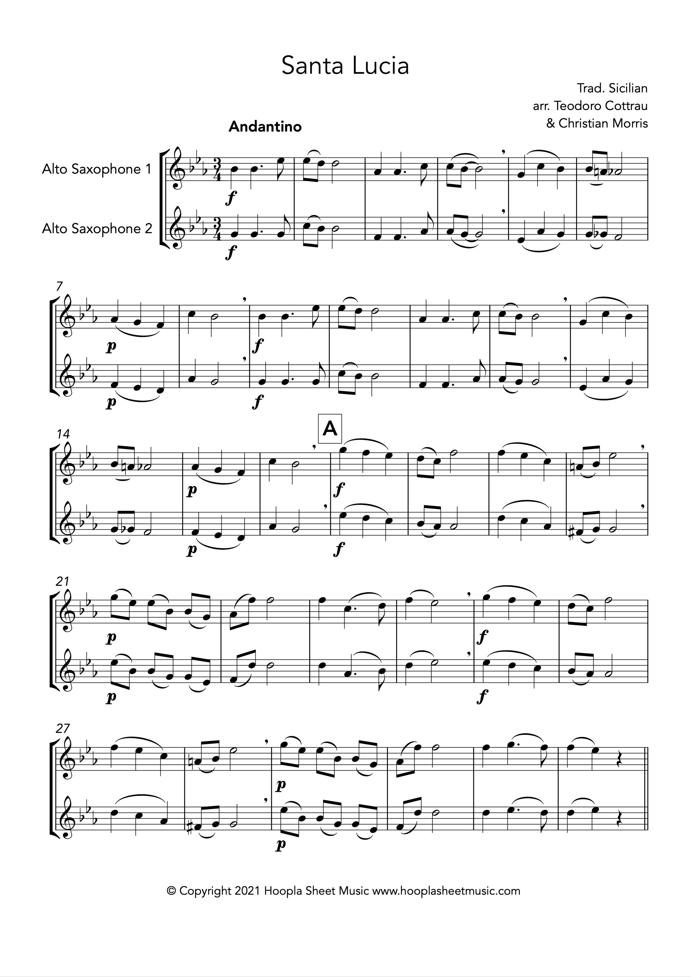 Santa Lucia (Alto Saxophone Duet)