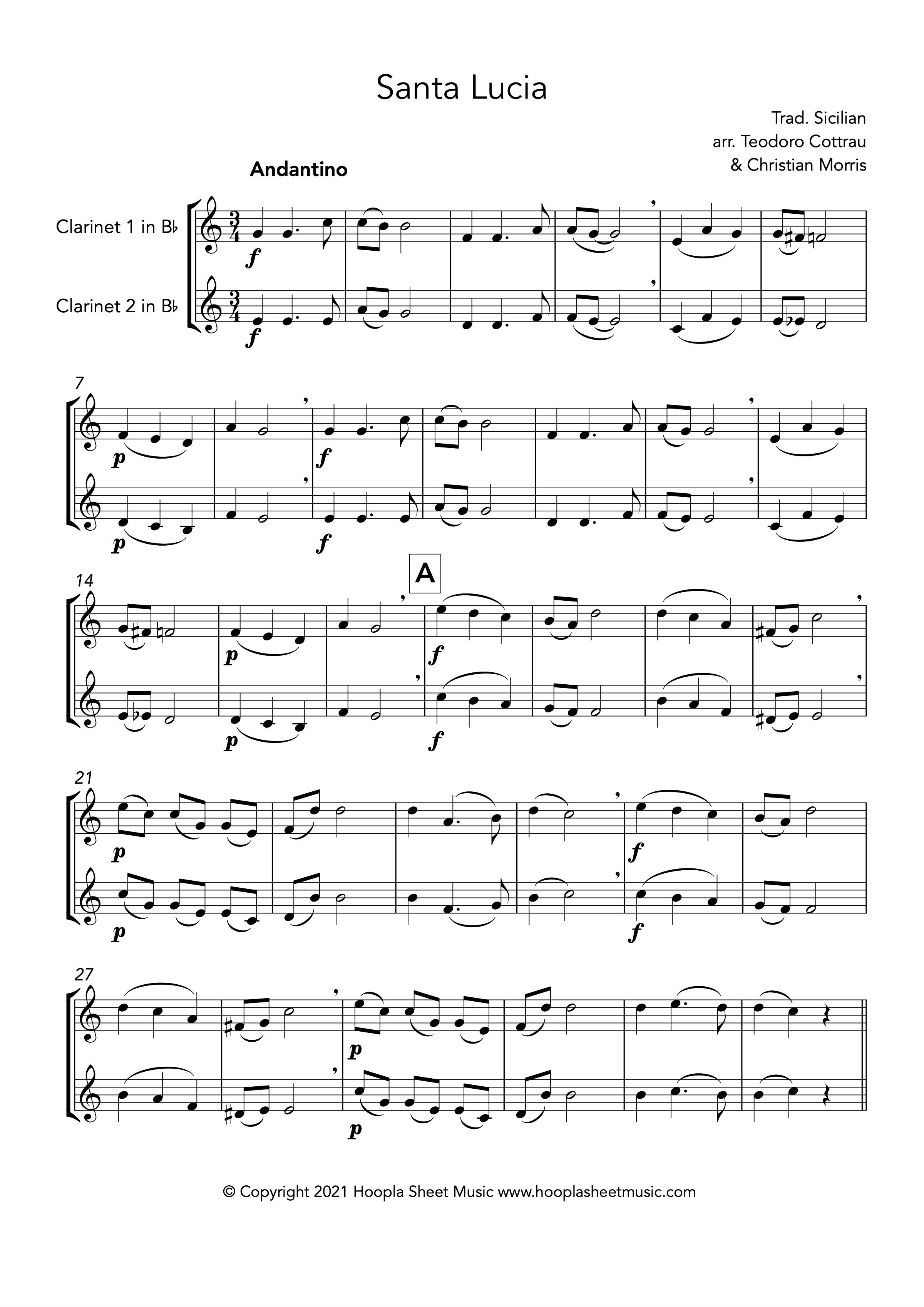 Santa Lucia (Clarinet Duet)