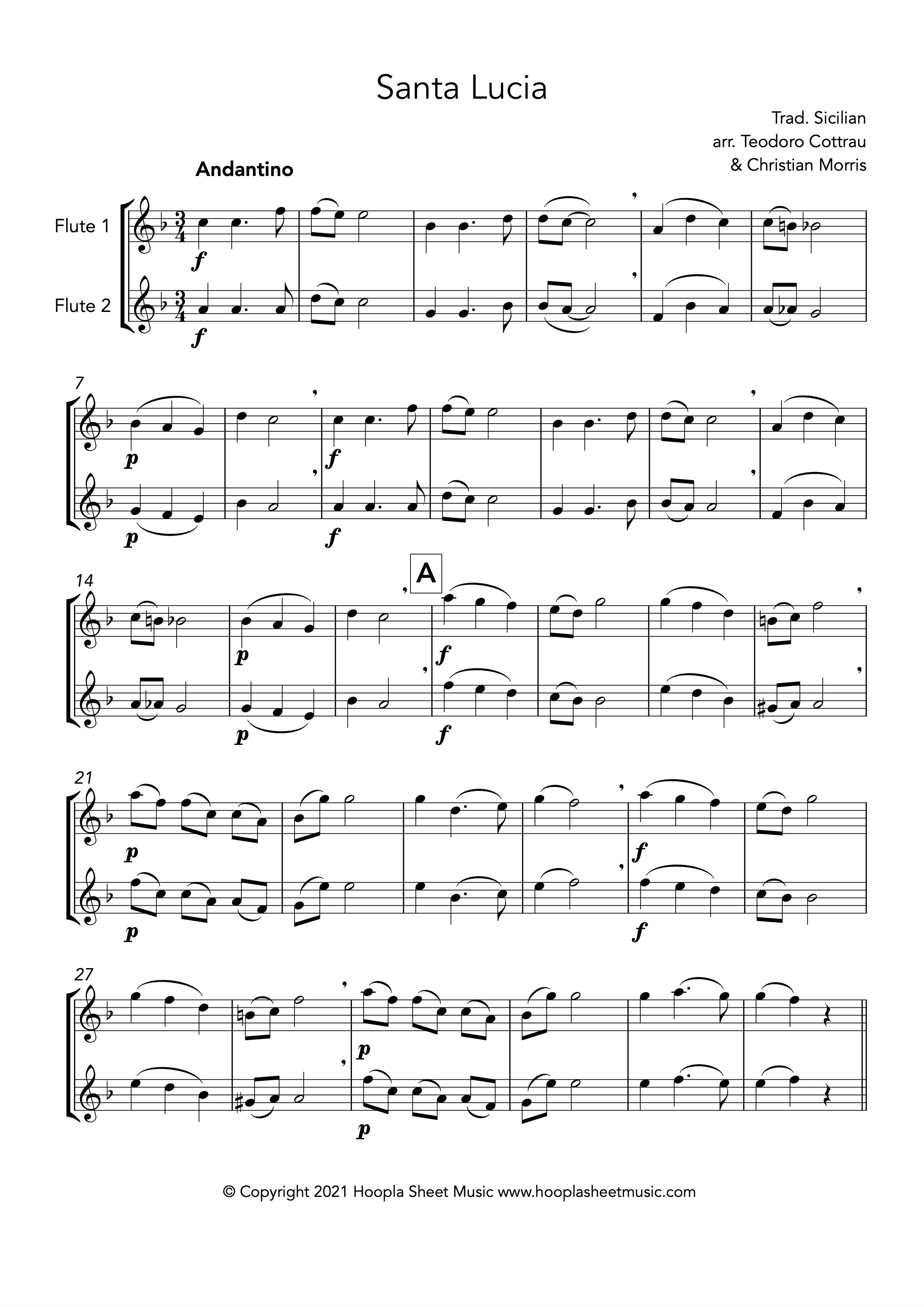 Santa Lucia (Flute Duet)