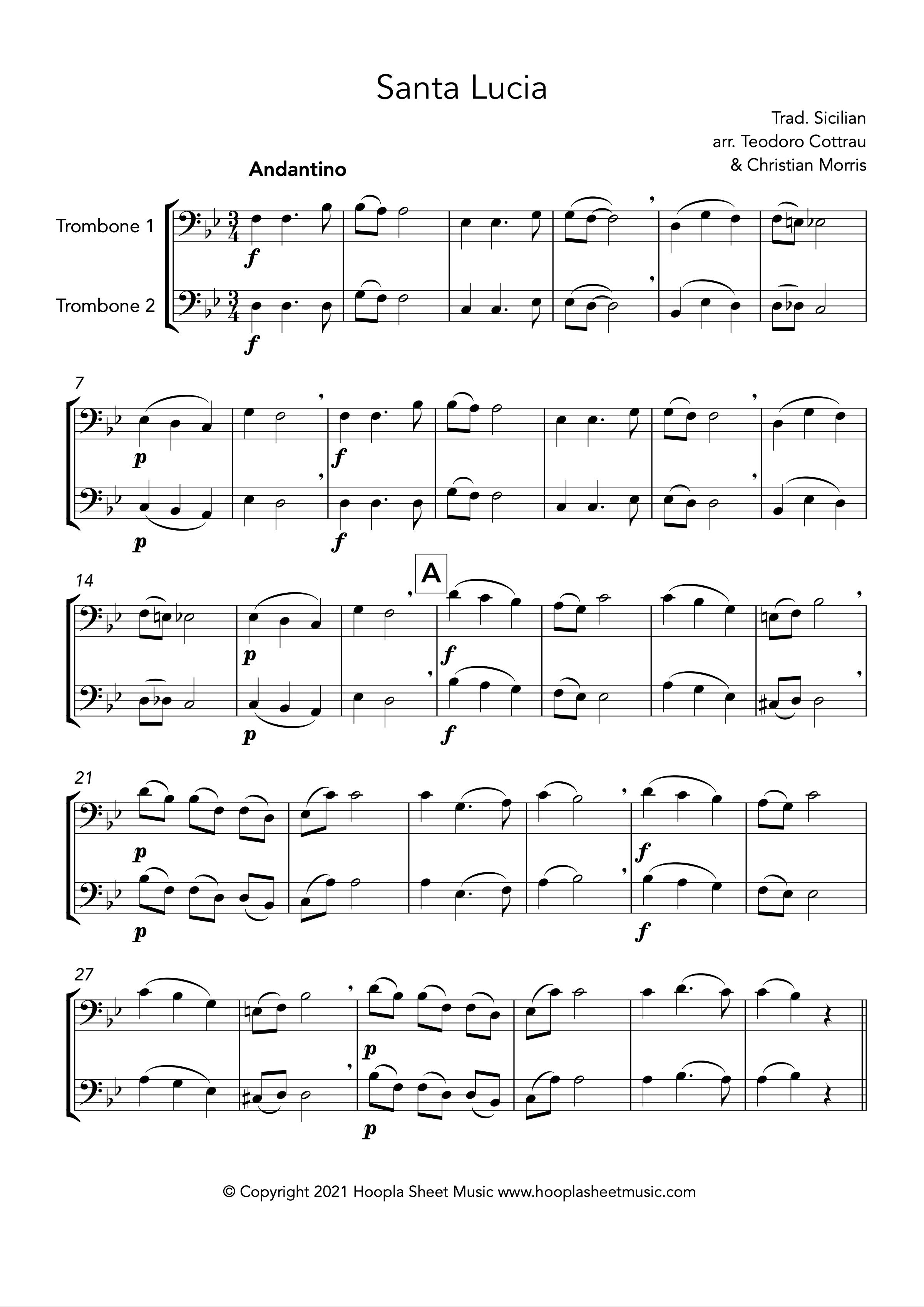 Santa Lucia (Trombone Duet)